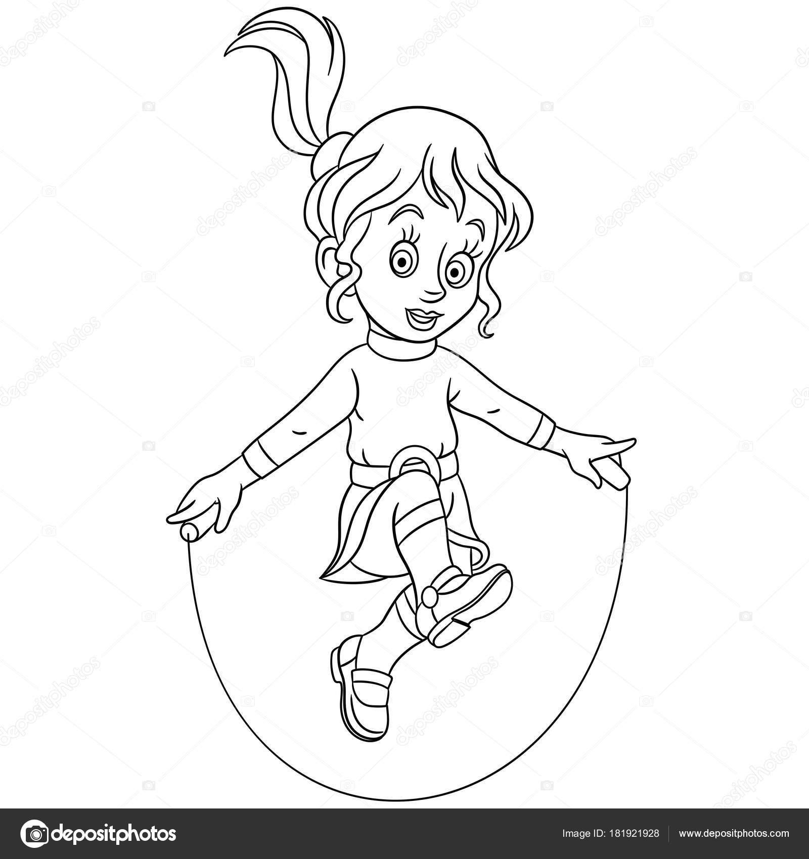 Coloring Page Cartoon Girl Jumping Skipping Rope Design Kids