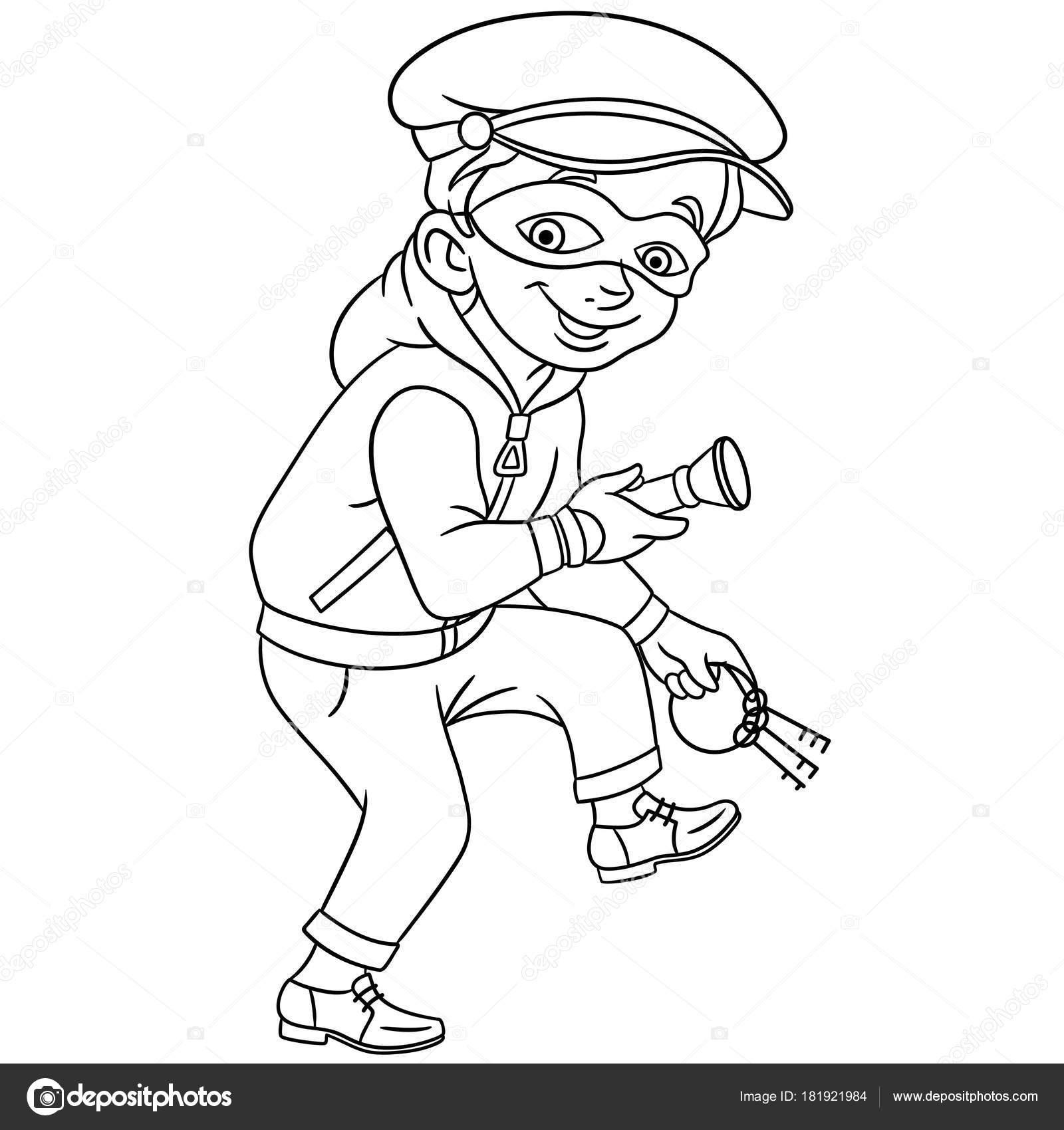 Coloring Page Cartoon Criminal Thief House Bank Keys Flashlight