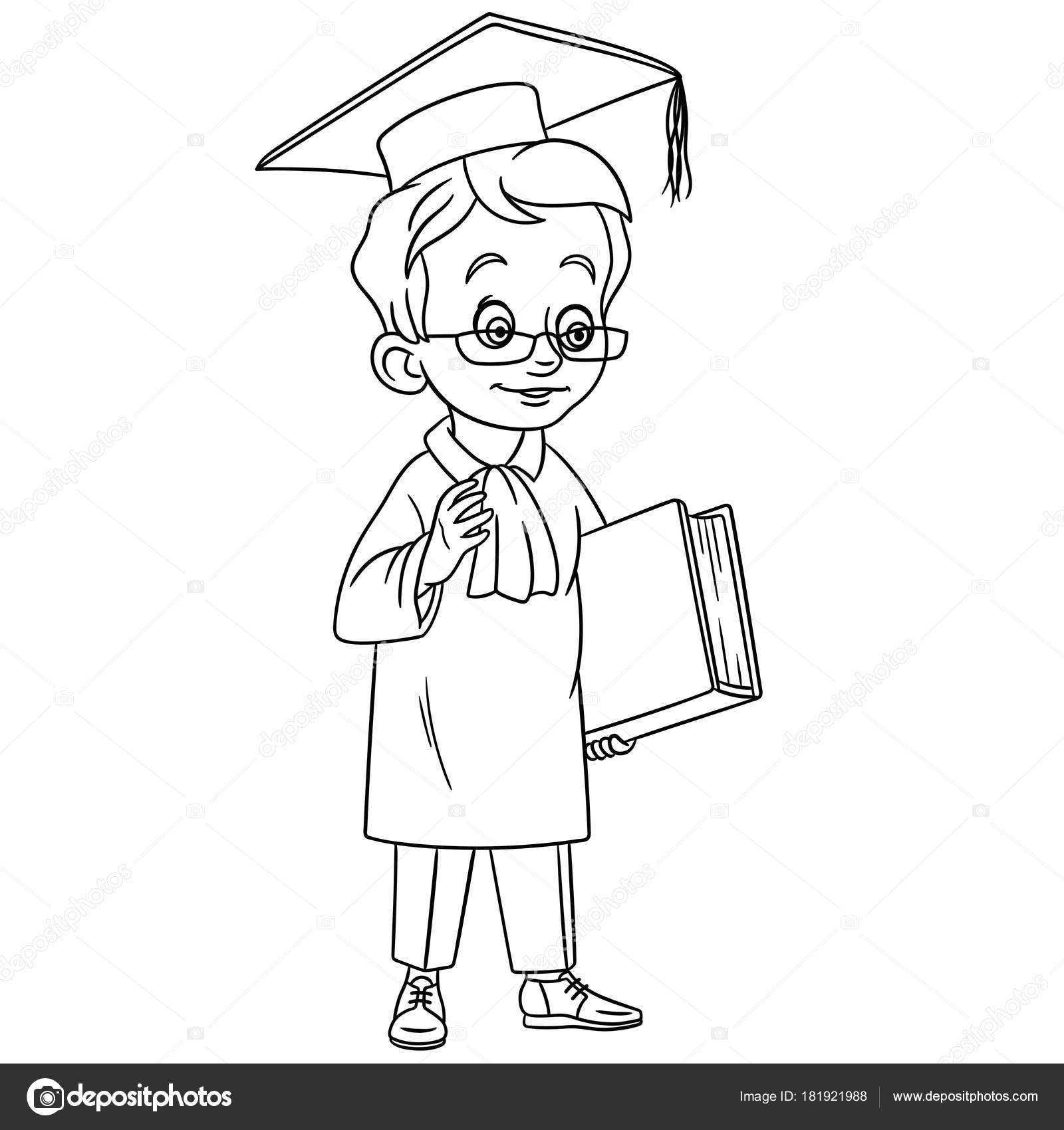 Coloring Page Cartoon Graduating Boy Graduation Cap Design