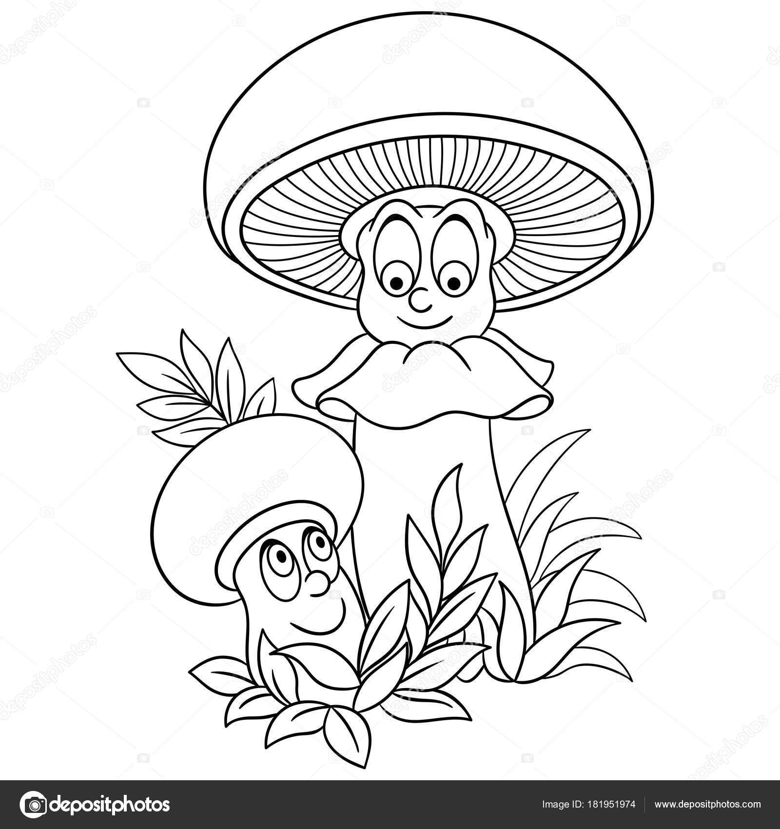 Página Para Colorear Champiñones Dibujos Animados Feliz Personaje ...