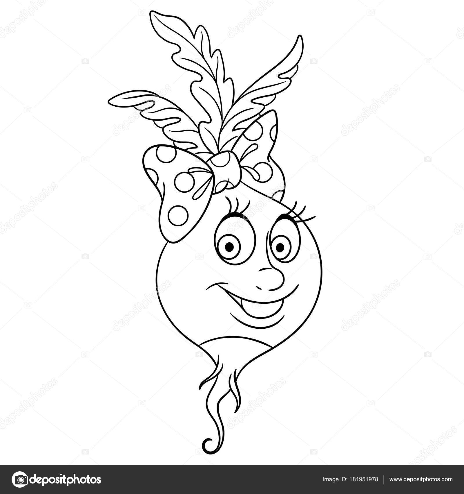 coloring page cartoon radish happy vegetable character eco food symbol stock vector
