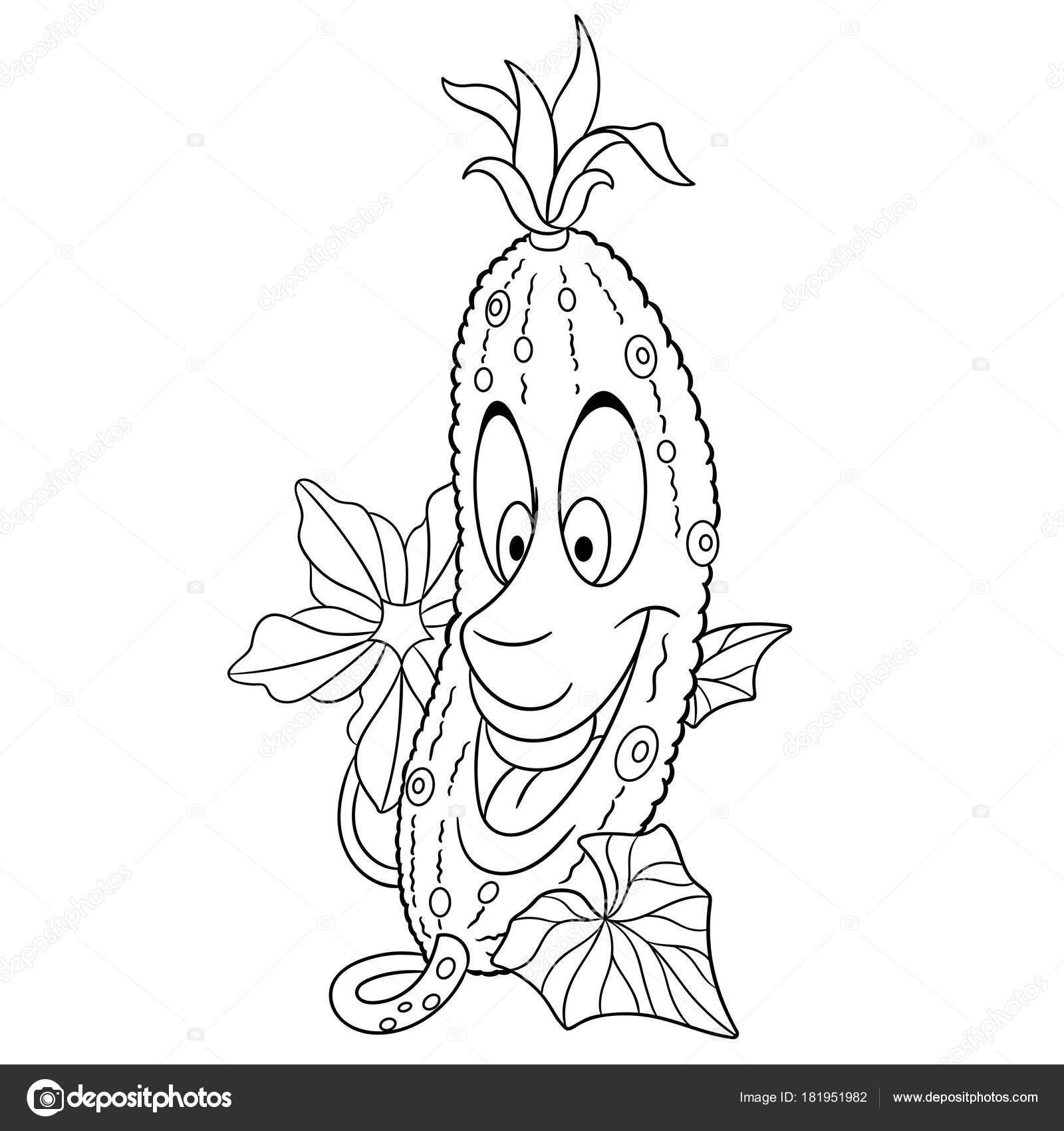 Malvorlagen Cartoon Gurke Fröhlichen Gemüse Charakter Symbol Für Öko ...