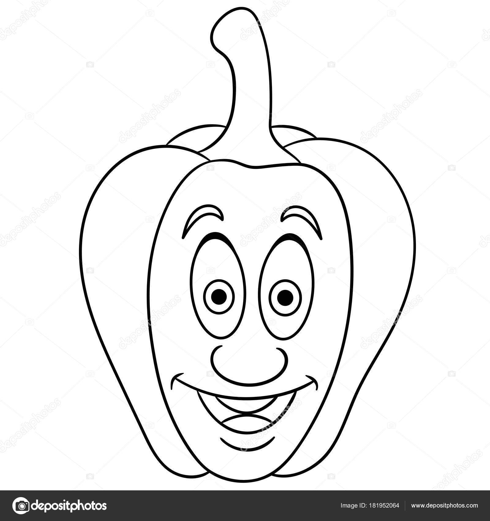 Bell Pepper Coloring Page Coloring Page Cartoon Bell Pepper Happy Vegetable Character Eco Food Stock Vector C Sybirko 181952064