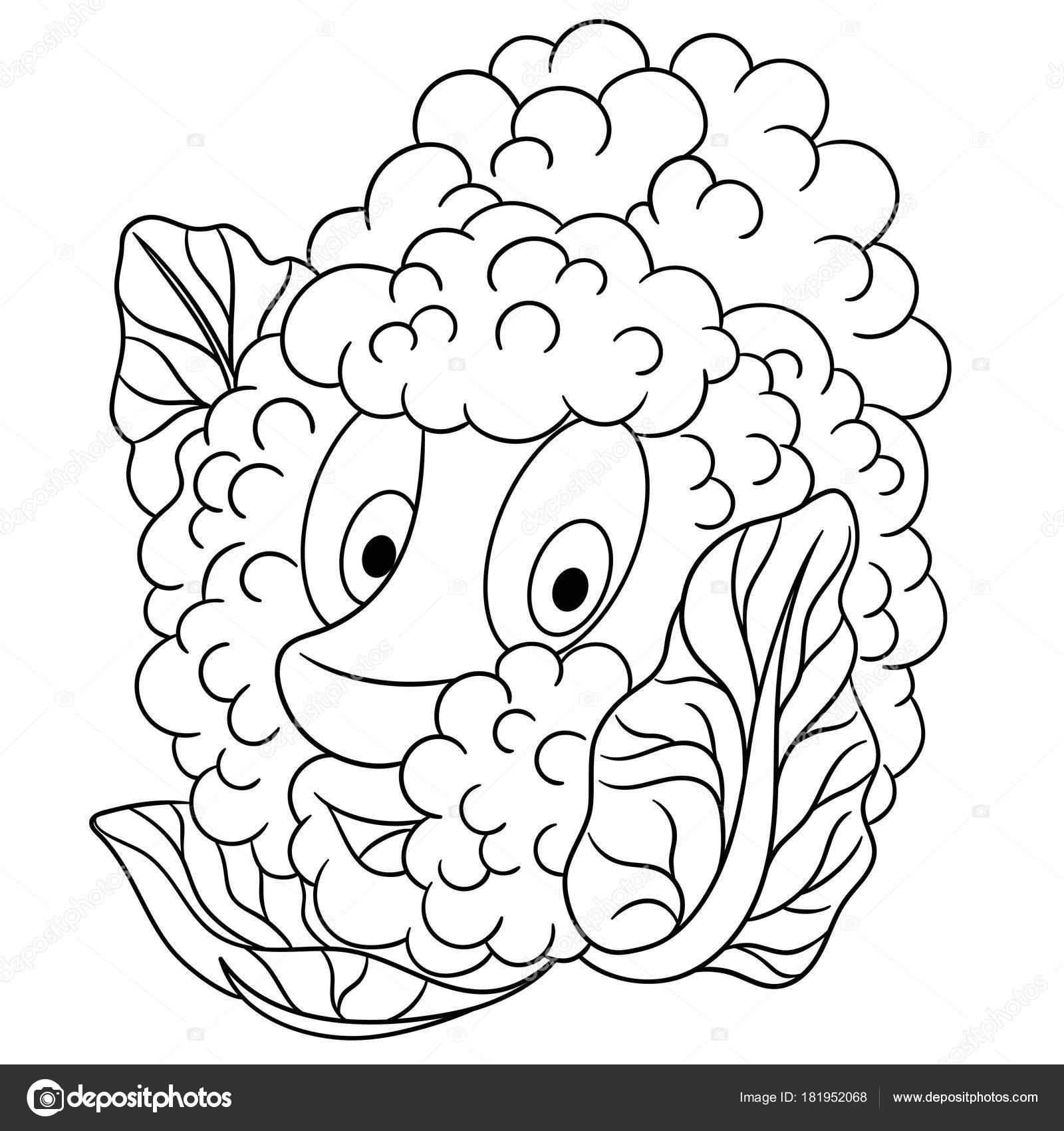 Malvorlagen Cartoon Blumenkohl Fröhlichen Gemüse Charakter Symbol ...