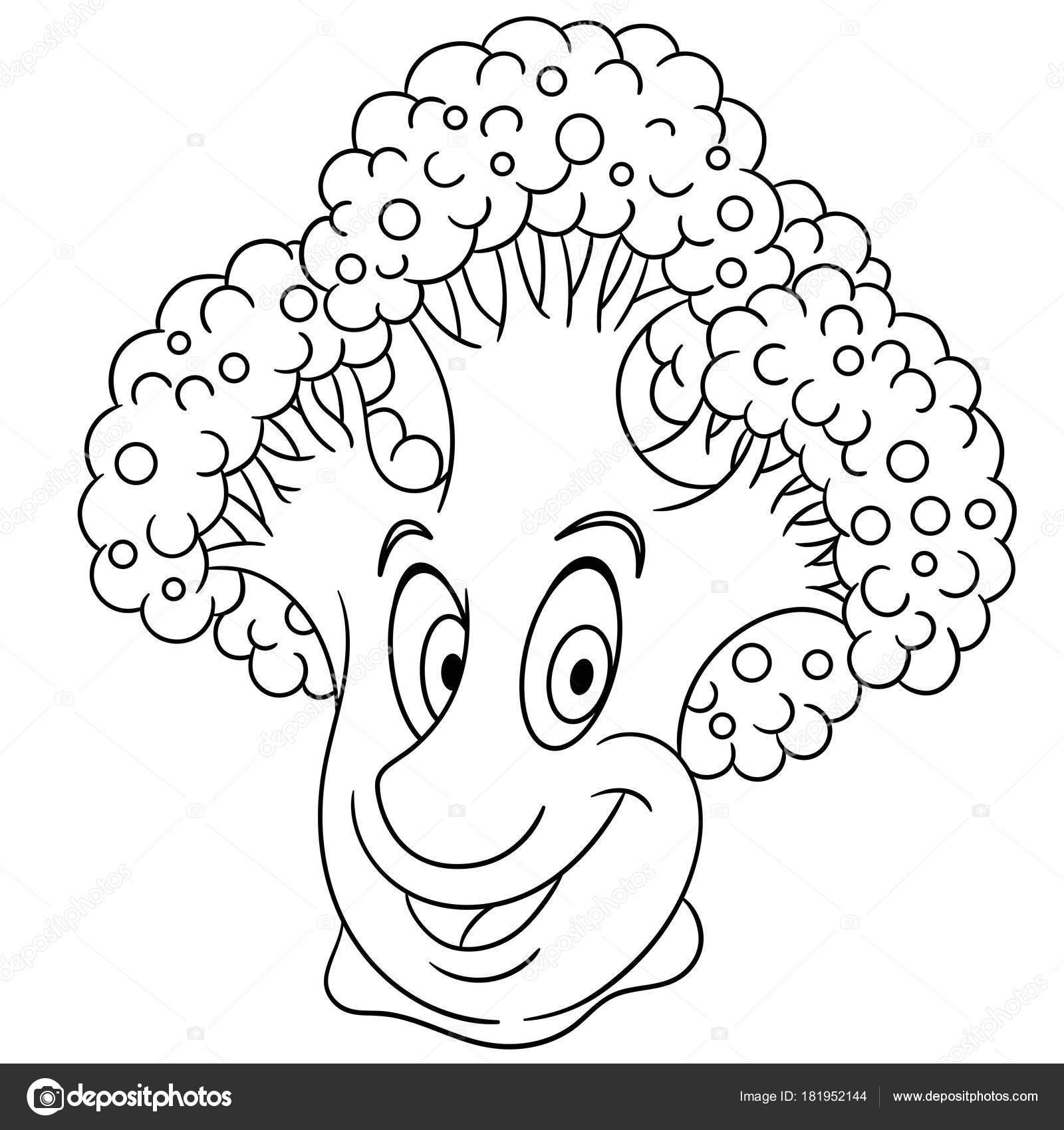 Malvorlagen Cartoon Brokkoli Fröhlichen Gemüse Charakter Symbol Für ...
