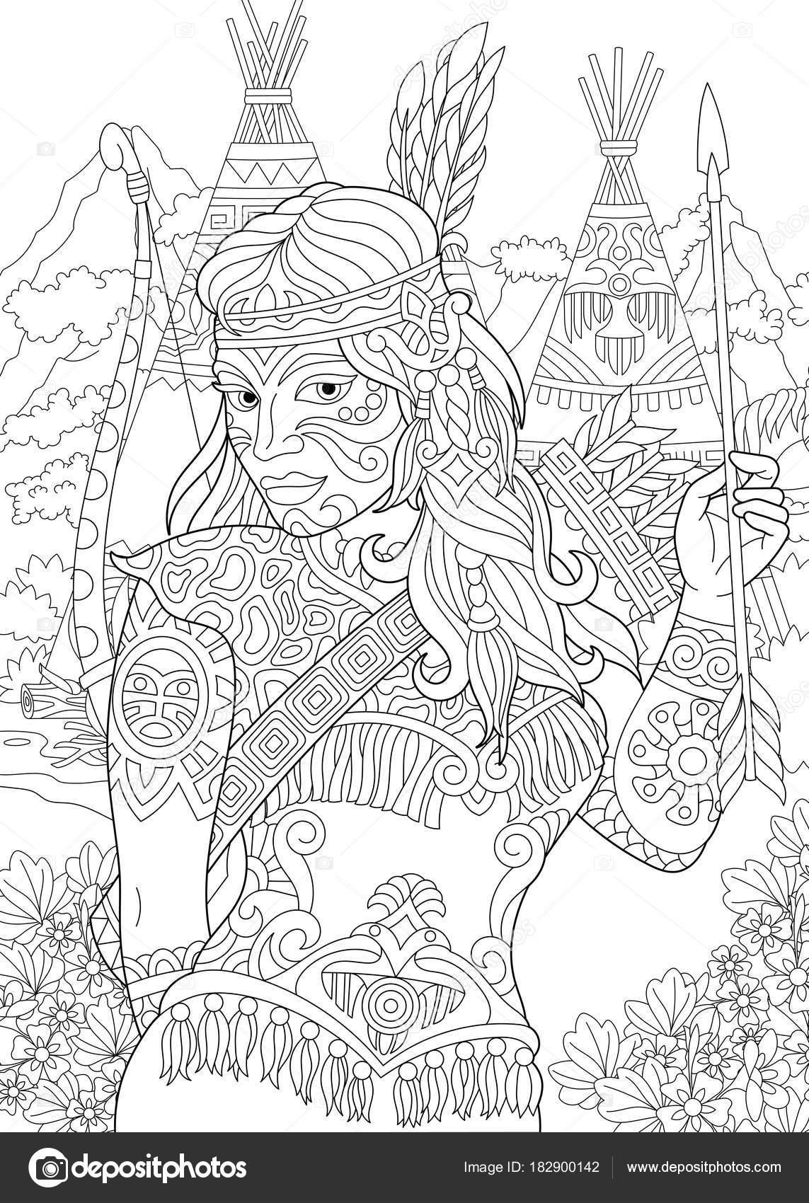 Zentangle indio americano nativa mujer — Vector de stock © Sybirko ...