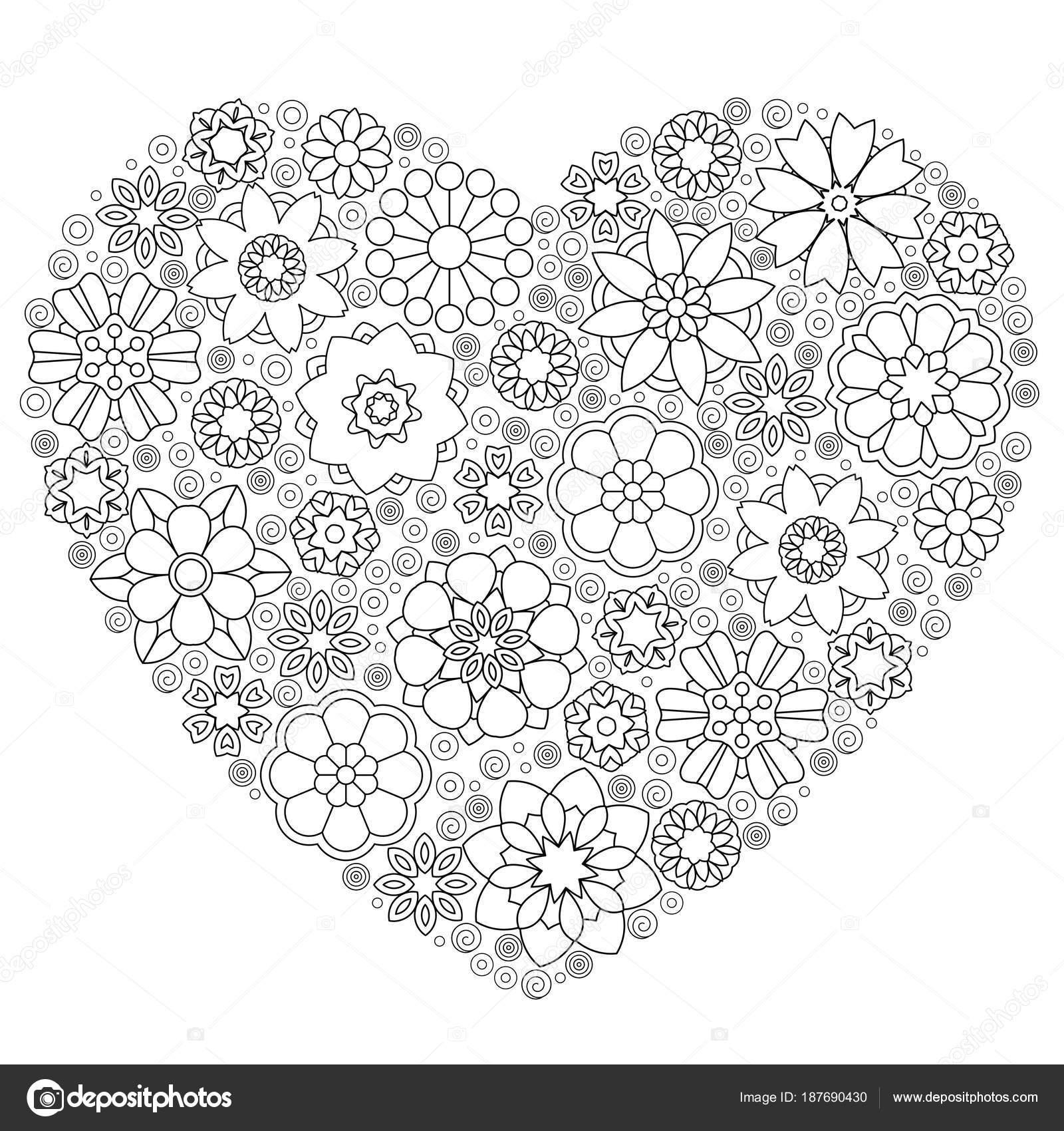 Corazón con motivos floral de zentangle — Archivo Imágenes ...