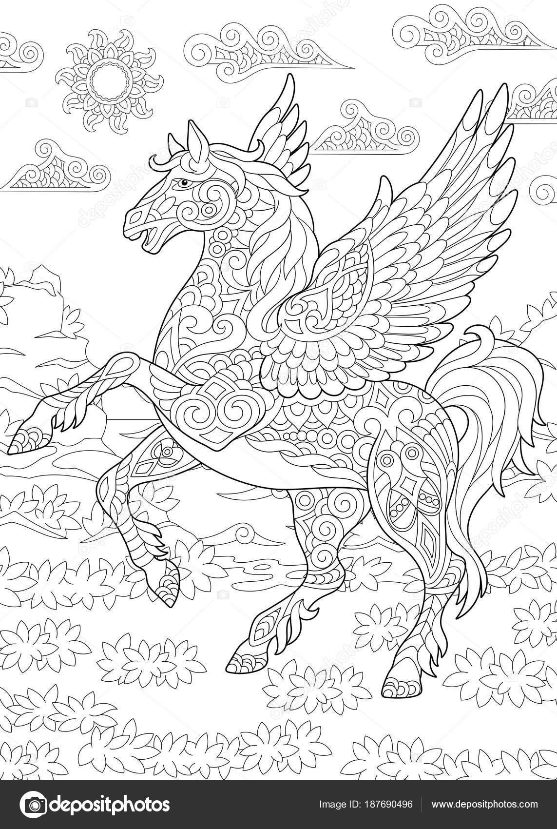 Coloriage Cheval Zen.Cheval De Pegasus Zentangle Image Vectorielle Sybirko