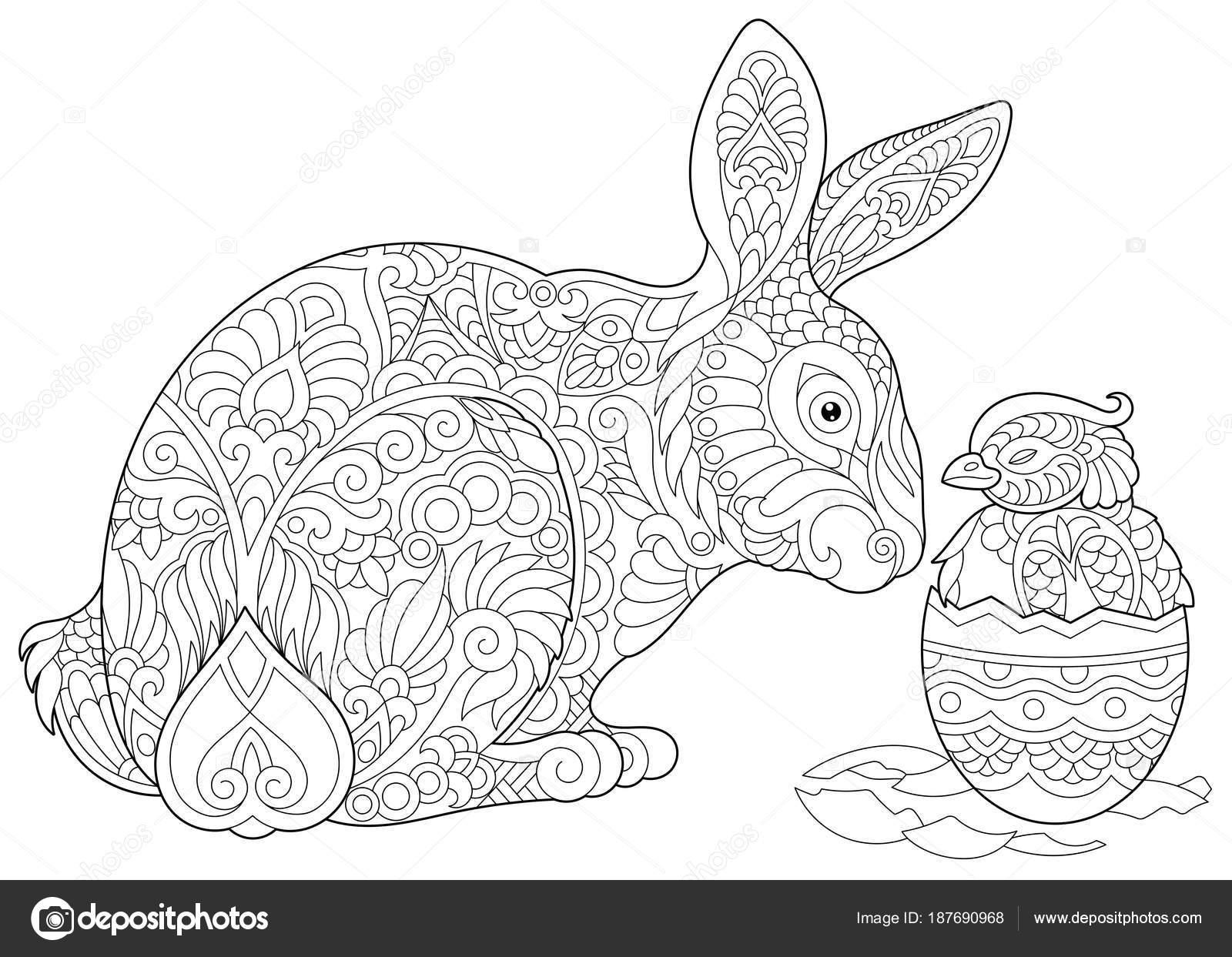 Pollo y conejo de Pascua Zentangle — Archivo Imágenes Vectoriales ...
