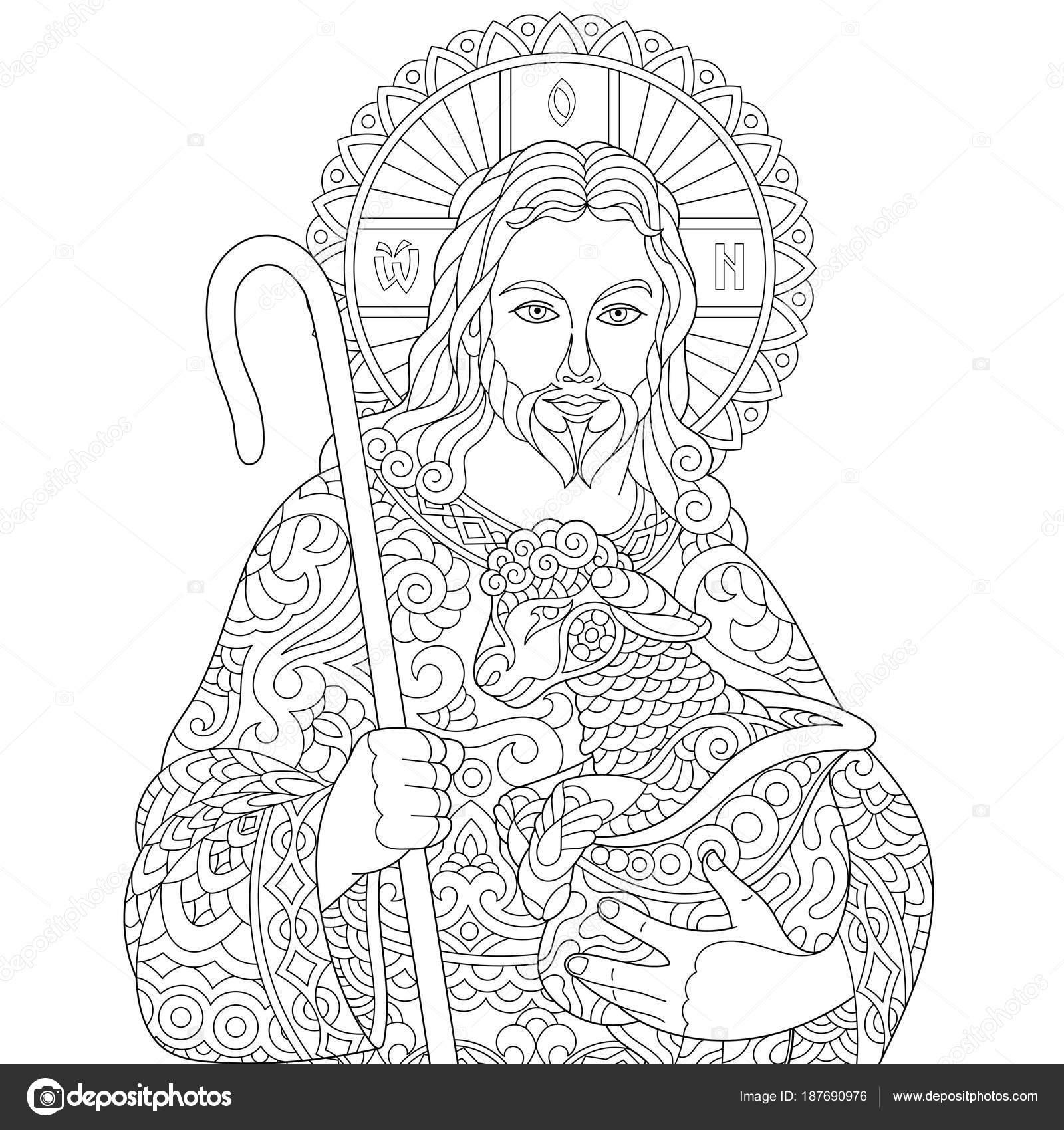 Zentangle Jesus Christus — Stockvektor © Sybirko #187690976