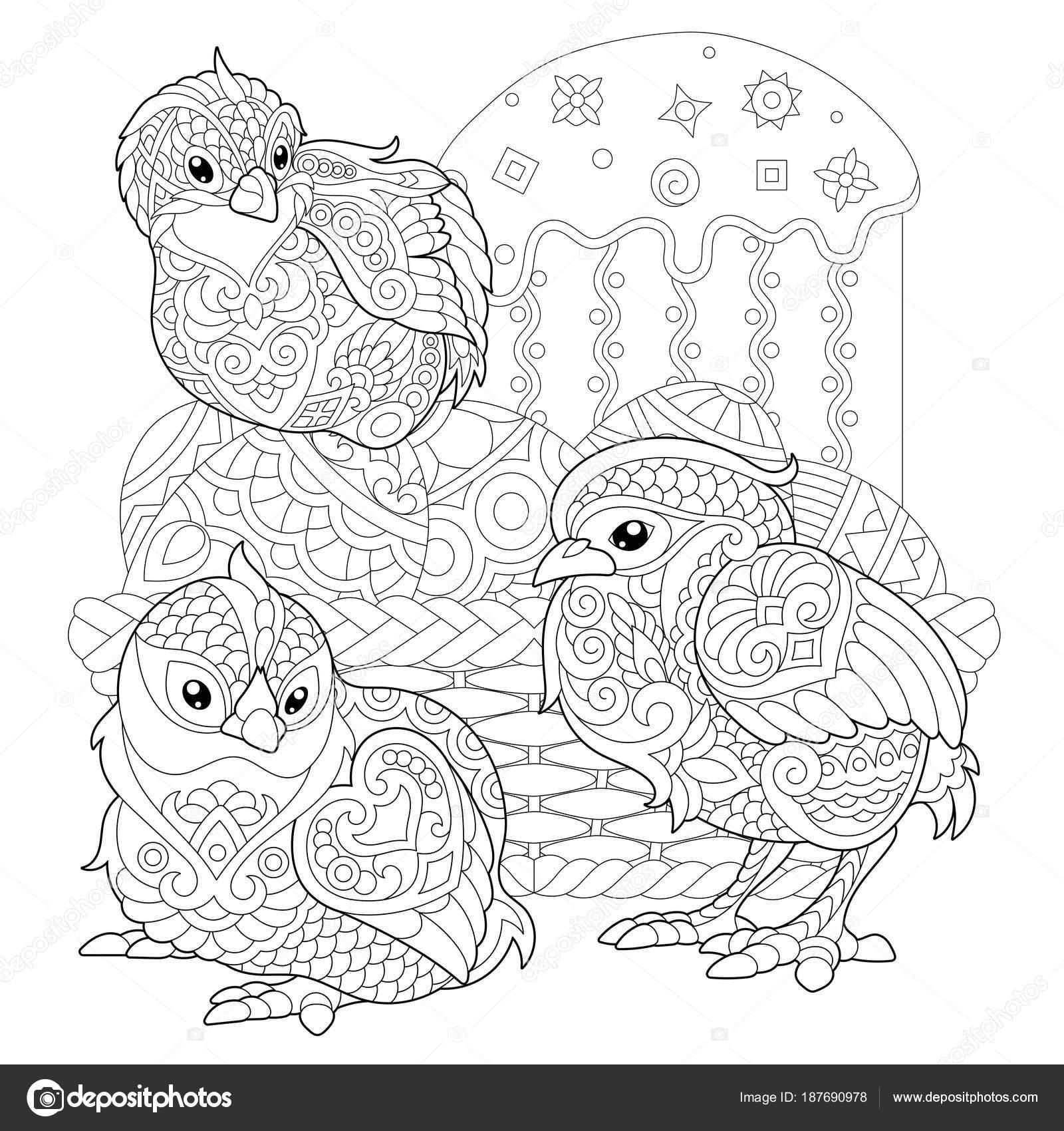 Pollitos de Pascua zentangle en huevos — Vector de stock © Sybirko ...
