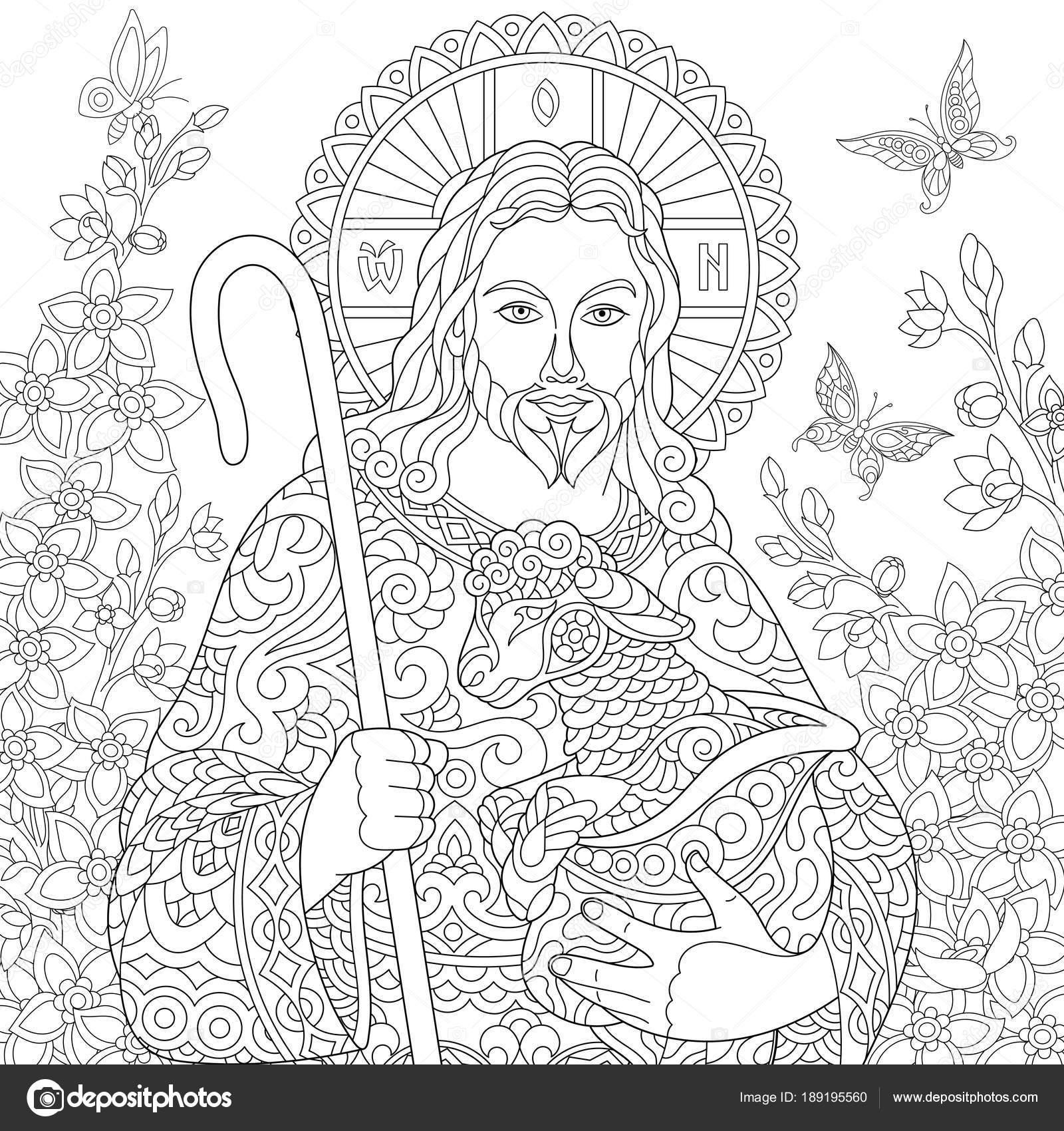 Zentangle Jesucristo — Vector de stock © Sybirko #189195560