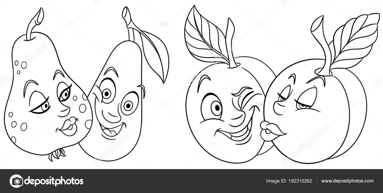 Boyama Sayfaları çizgi Film Meyve Aşık Güzel öpücük Ifadeleri Emoji