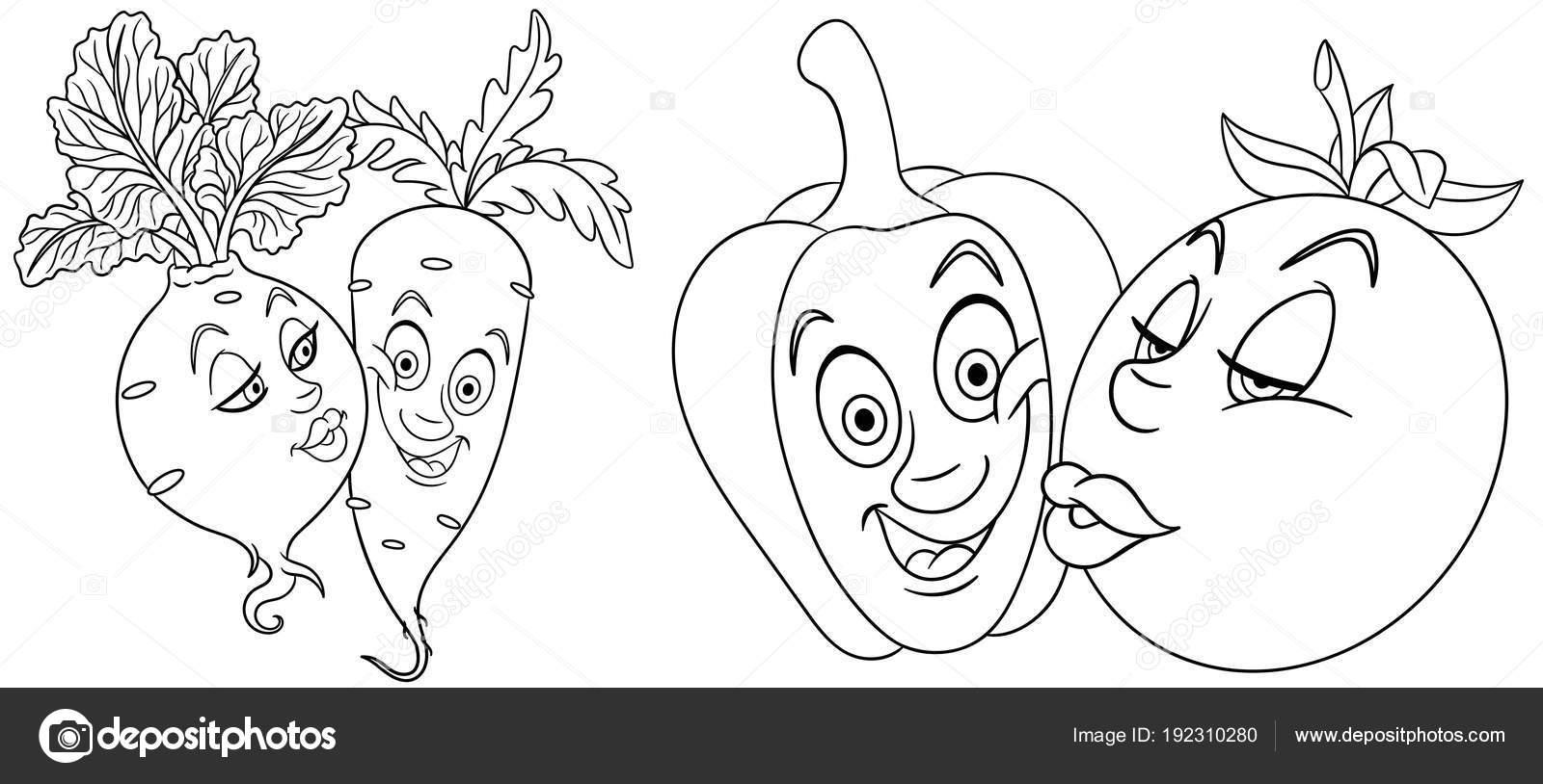 Kleurplaten Emoji.Kleurplaten Cartoon Groenten Liefde Mooie Kus Emoticons Emoji Voor