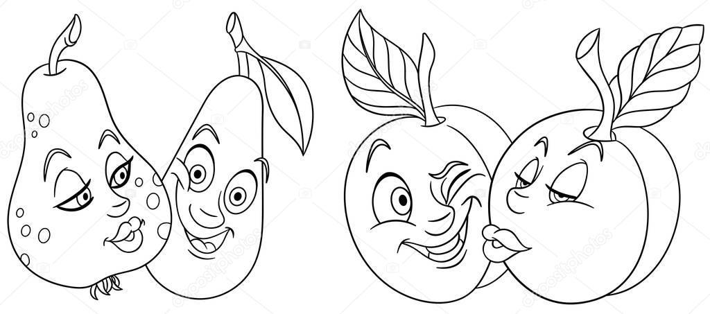 Mooie Kleurplaten Over Liefde.Kleurplaten Cartoon Vruchten Liefde Mooie Kus Emoticons Emoji Voor