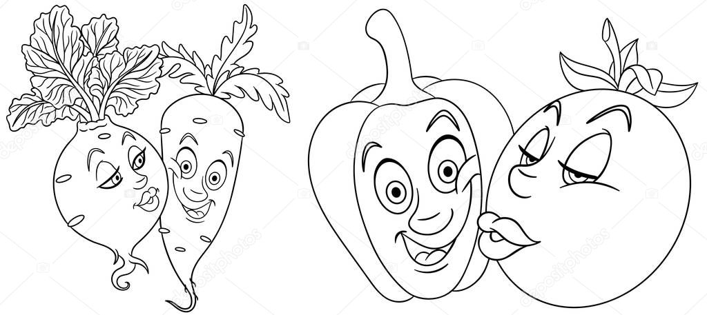 Coloring Pages Cartoon Vegetables In Love Lovely Kiss Emoticons Emoji For Valentines Day Premium Vector In Adobe Illustrator Ai Ai Format Encapsulated Postscript Eps Eps Format