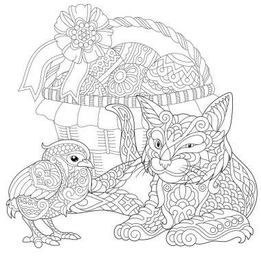 Zentangle cat and baby chicken