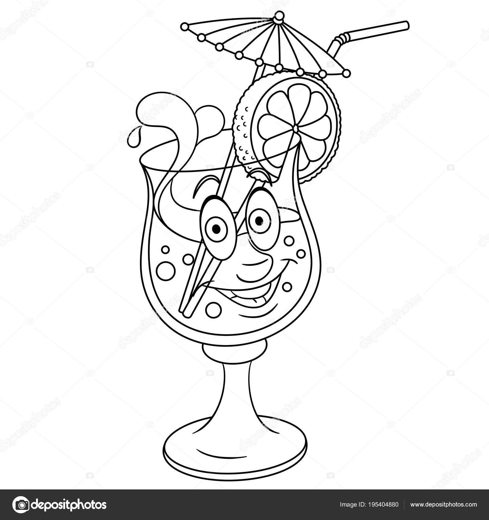 çizgi Film Taze Yaz Kokteyli Stok Vektör Sybirko 195404880