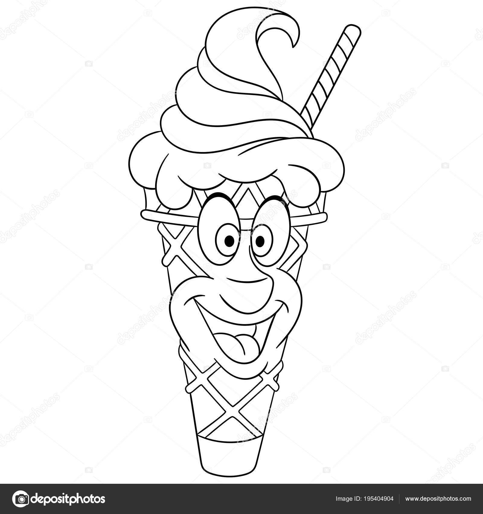 Cartoon-süße Eiscreme-Kegel — Stockvektor © Sybirko #195404904