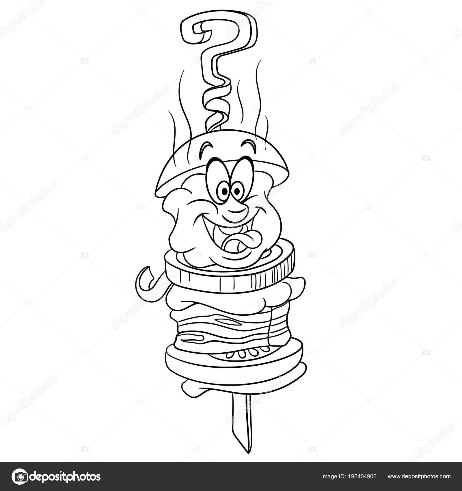 Dessin Barbecue dessin animé barbecue alimentaire — image vectorielle sybirko