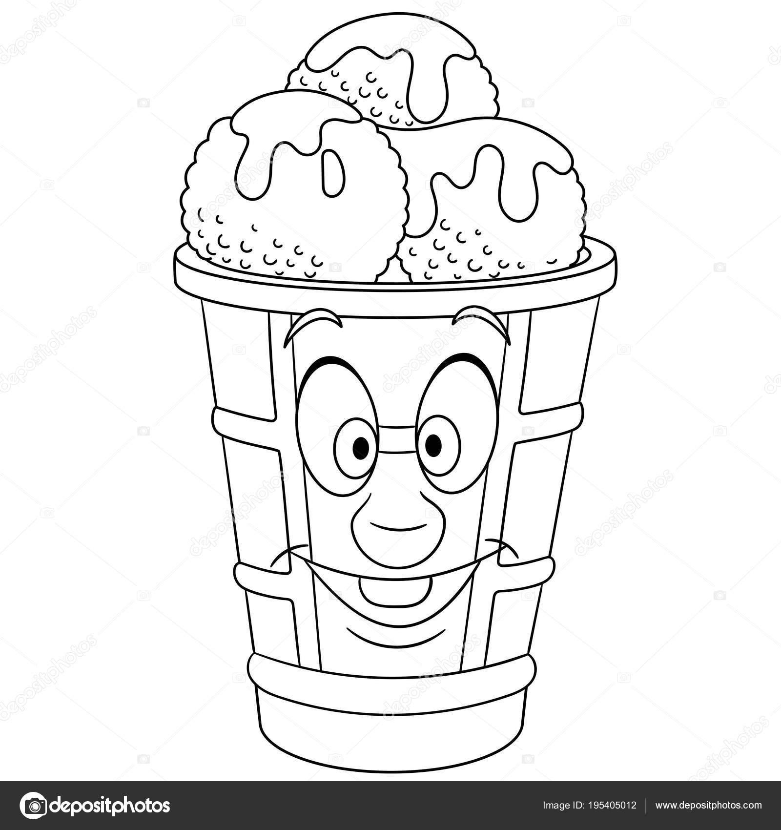 çizgi Film Tatlı Dondurma Kaşık Stok Vektör Sybirko 195405012