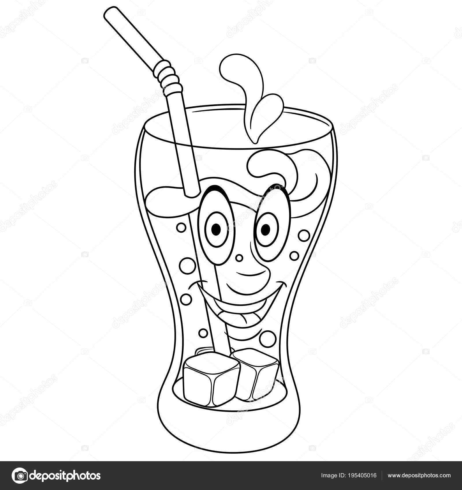 Boyama Kitabı Boyama Sayfası Boyama Resim Cola Kupası Stok Vektör