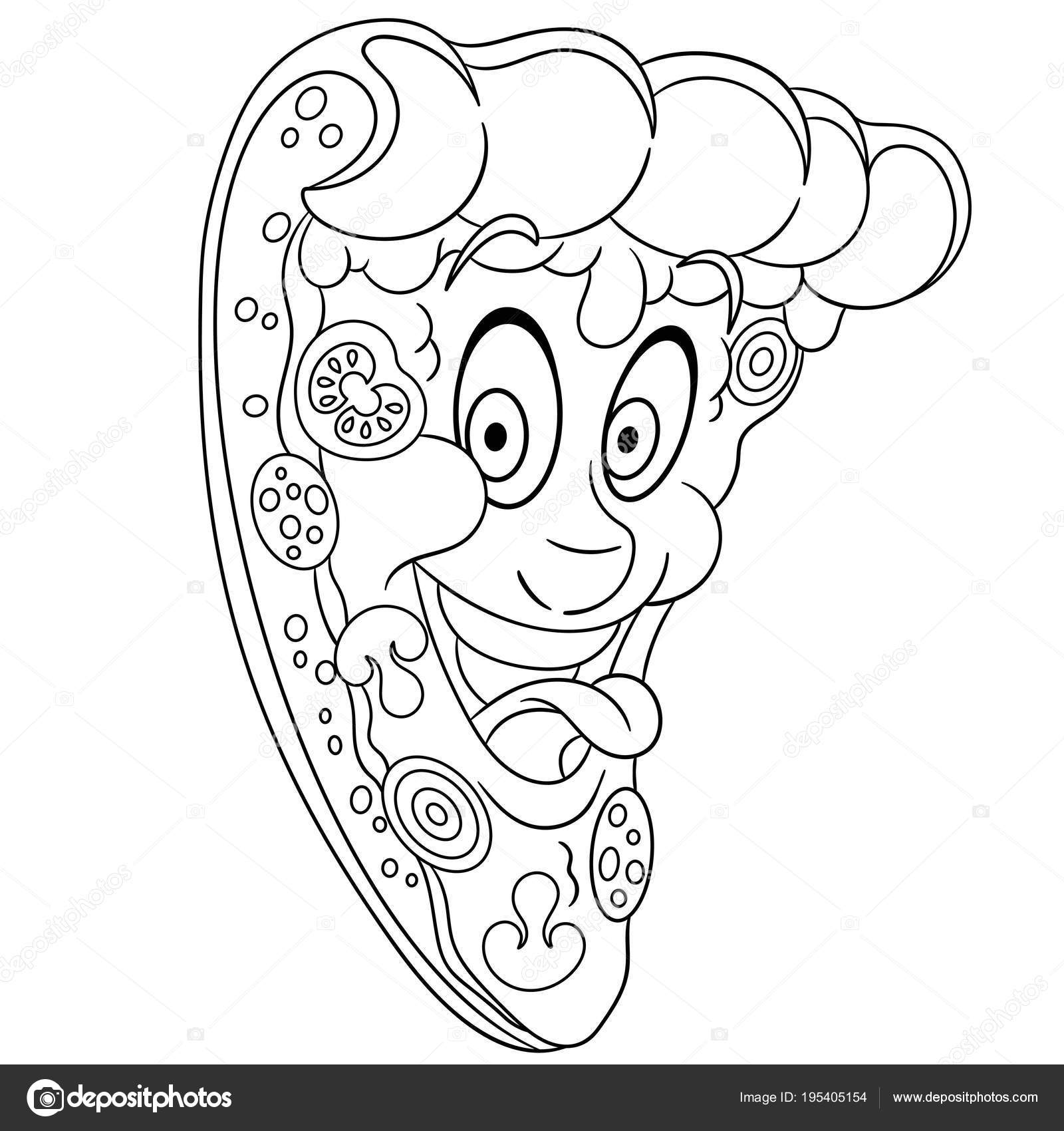 Coloring Book Coloring Page Colouring Picture Pepperoni Pizza Slice