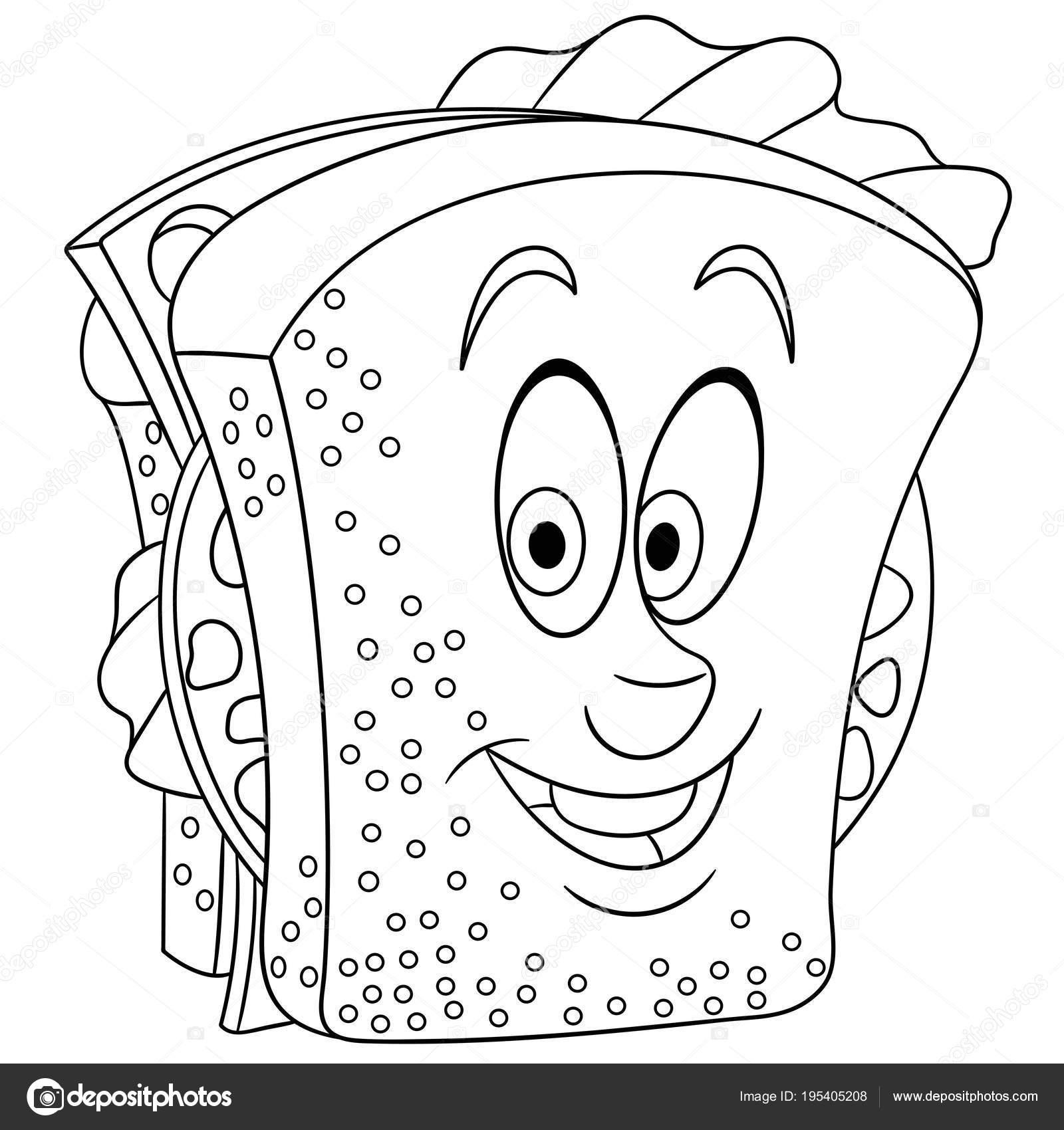 Boyama Kitabı Boyama Sayfası Boyama Resim Sandviç Stok Vektör