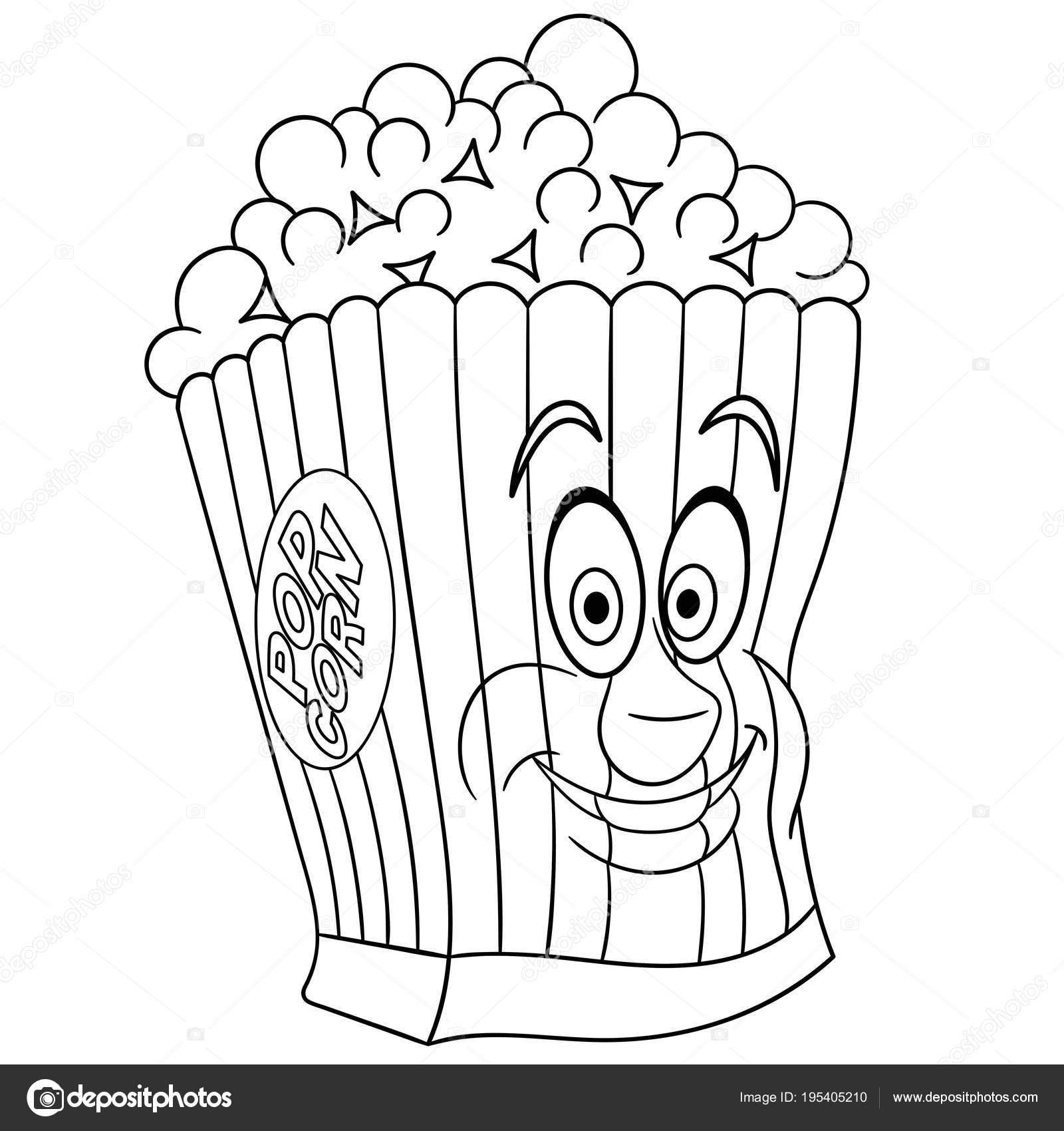 Malbuch Malvorlagen Ausmalbild Popcorn — Stockvektor © Sybirko ...