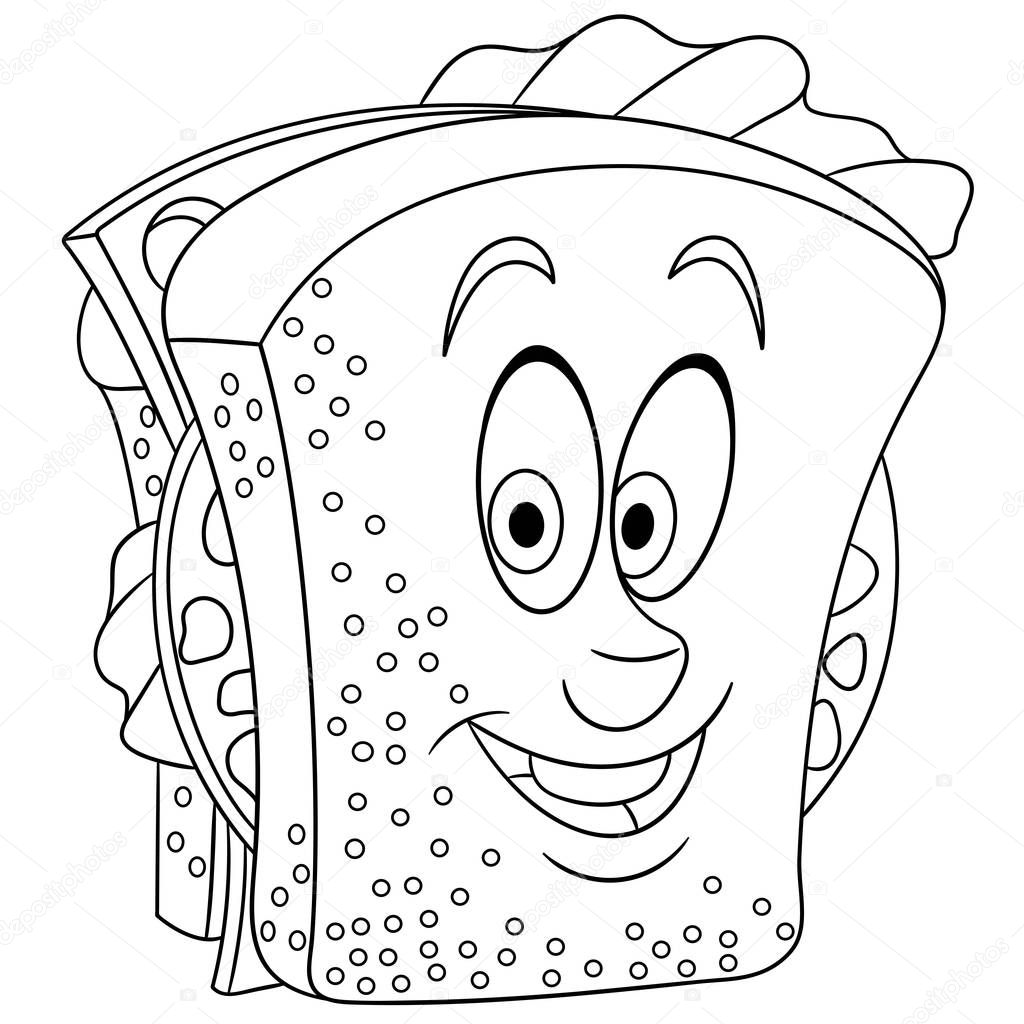 Книжка Раскраска Окраски Странице Колорит Картины Сэндвич ...
