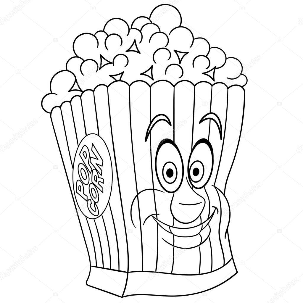 Malbuch Malvorlagen Ausmalbild Popcorn Stockvektor