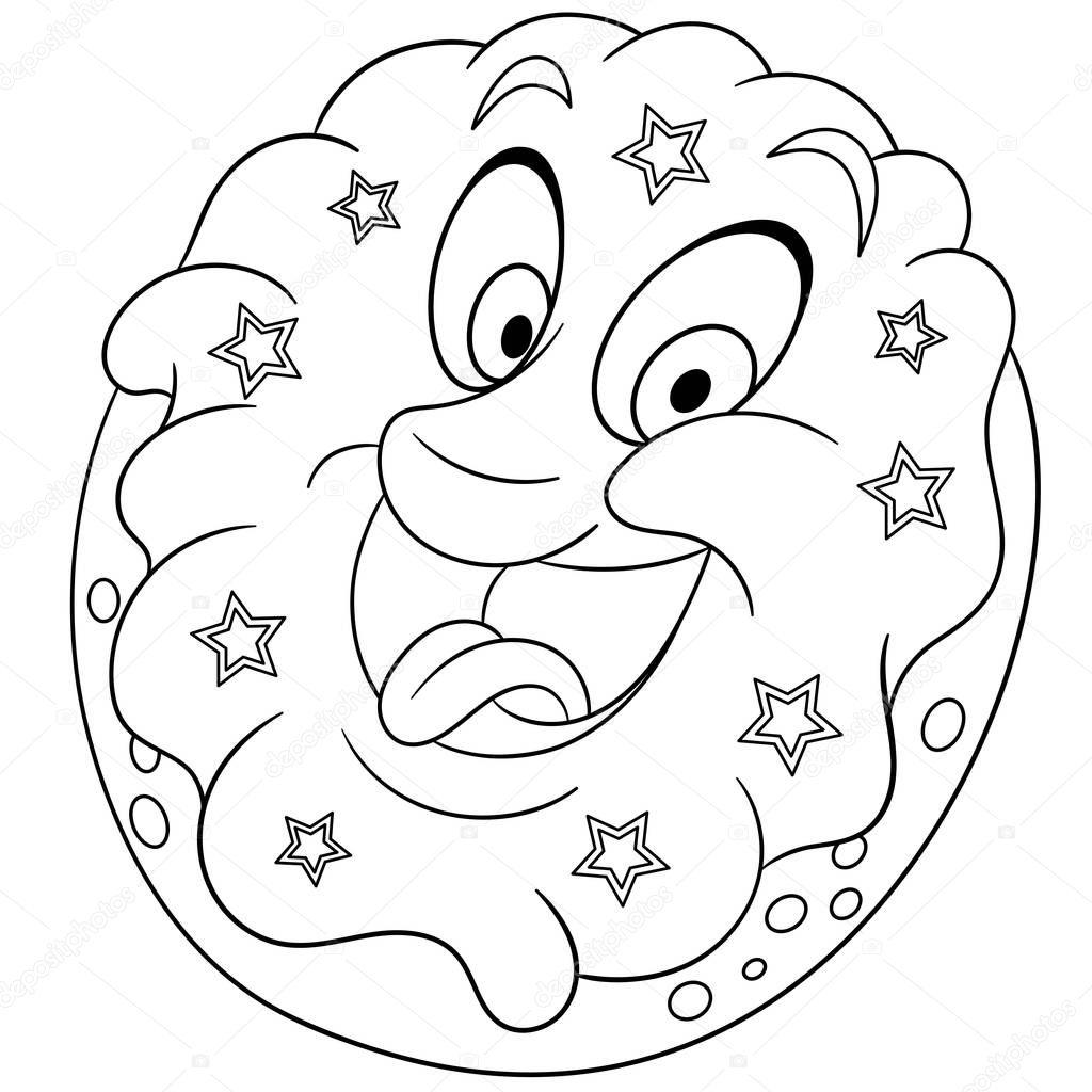 malbuch malvorlagen ausmalbild donut mit beregnung sterne