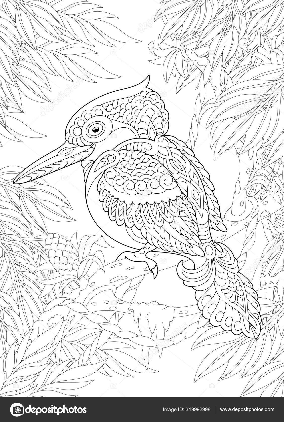 kleurplaat met vogel in de tuin stockvector 169 sybirko