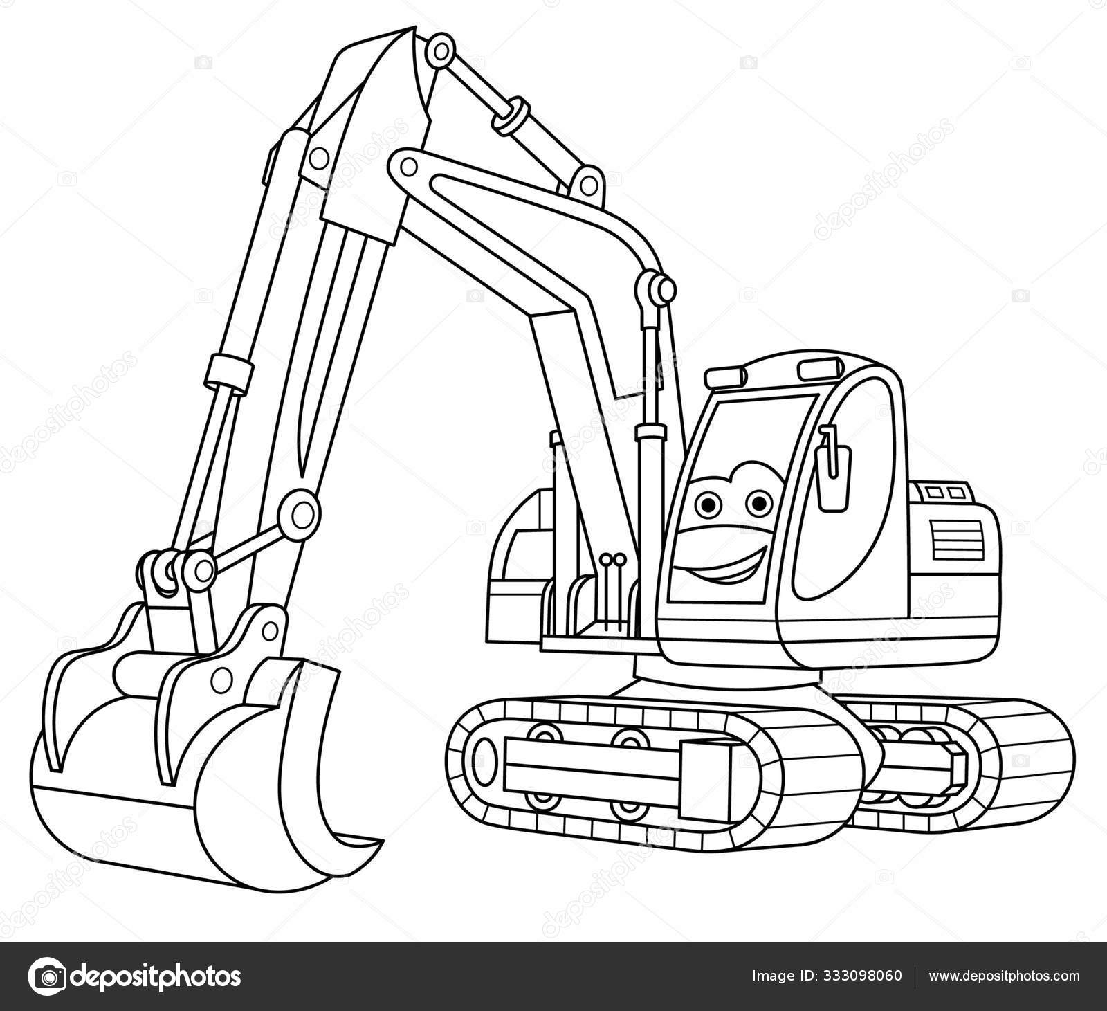 Coloring Page With Excavator Vector Image By C Sybirko Vector Stock 333098060