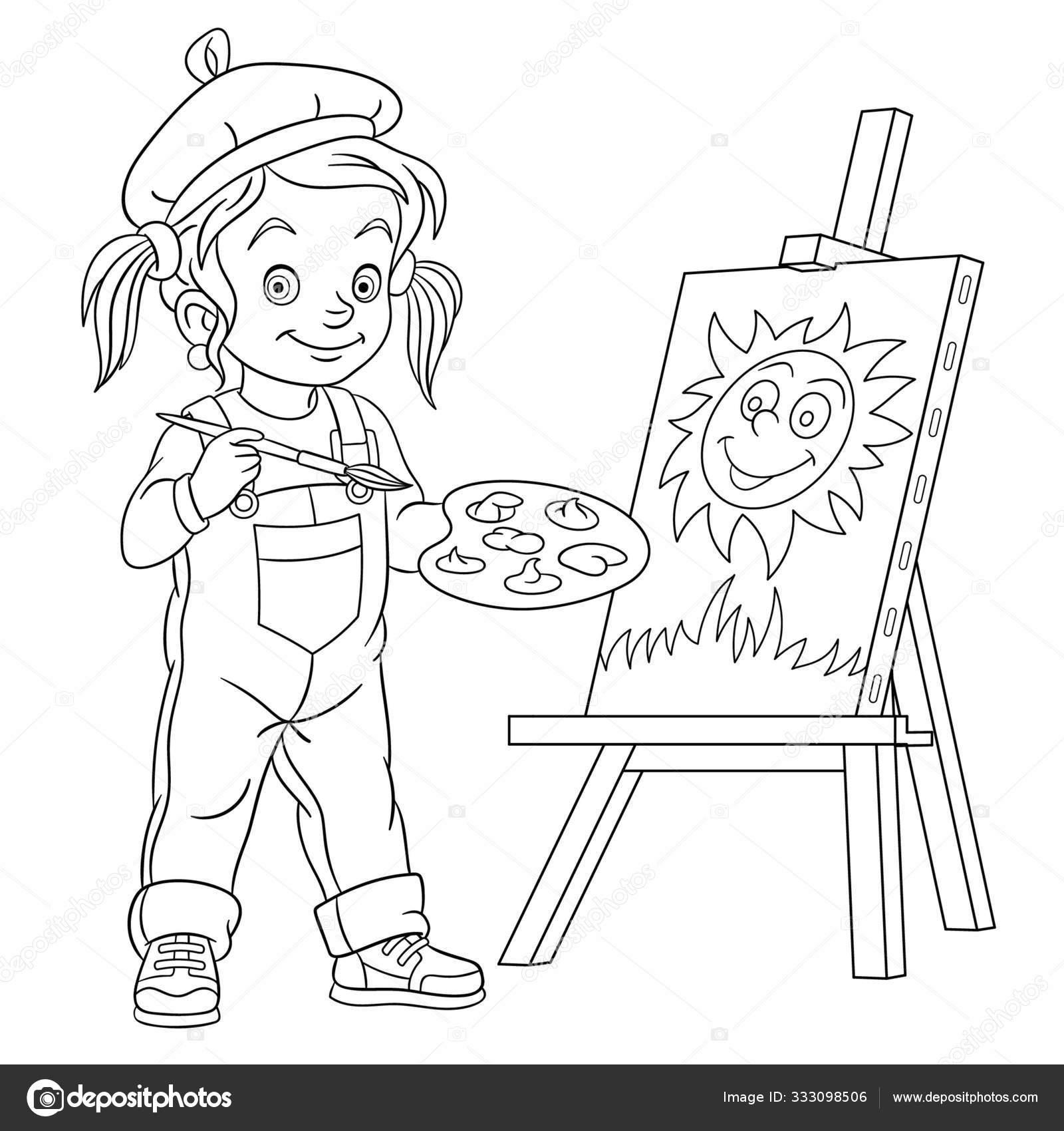 Раскраска страницы с рисунком девушки, художник живописи ...