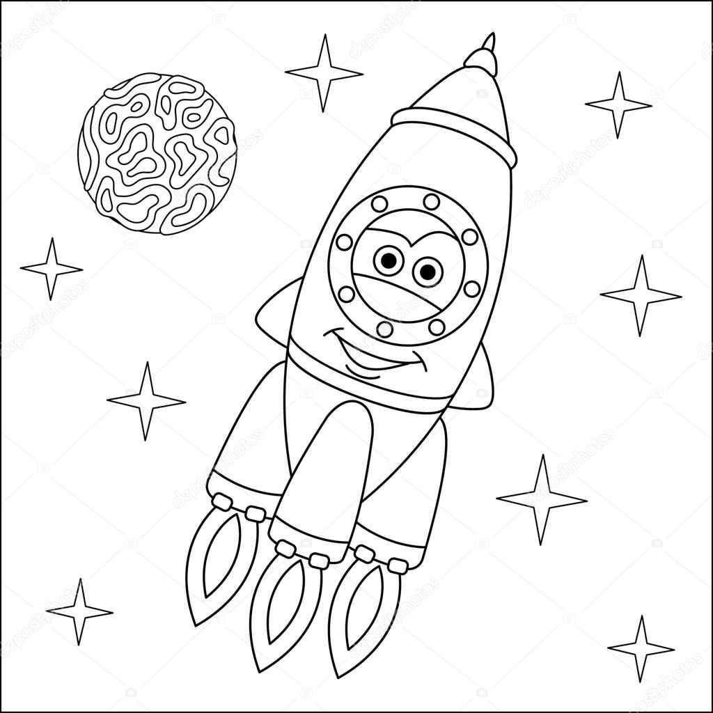 Coloring Page Coloring Picture Of Cartoon Rocket Ship Childish Design For Kids Activity Colouring Book About Transport Premium Vector In Adobe Illustrator Ai Ai Format Encapsulated Postscript Eps Eps Format