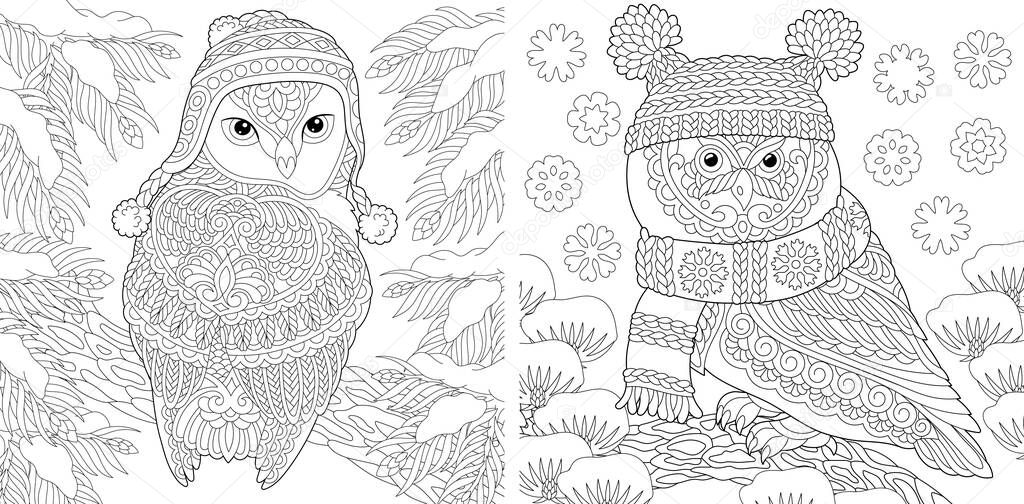 Animal Coloring Pages Cute Owls In Winter Hats Line Art Design For Adult Or Kids Colouring Book In Zentangle Style Vector Illustration Premium Vector In Adobe Illustrator Ai Ai