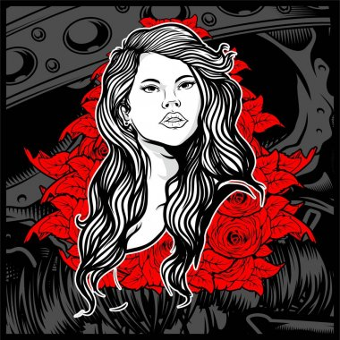 Vintage style young lady with roses - Vector