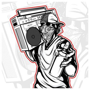 skull hip hop handling boombox