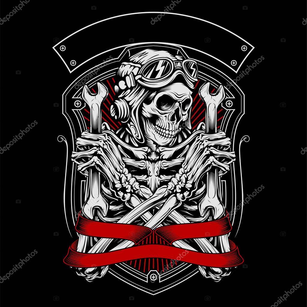 Skull mafia with gun hand drawing vector stock vector