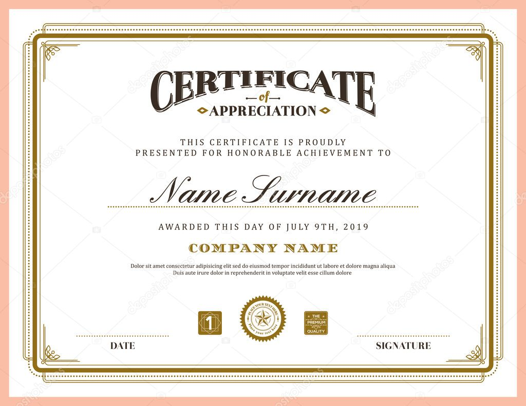 vintage retro classic frame certificate background template stock