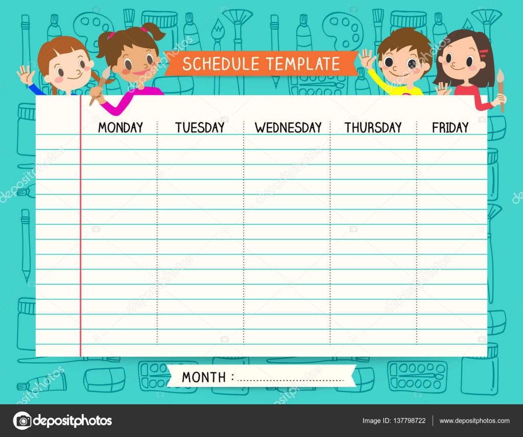 Notas de la escuela plan calendario plantilla fija para los niños ...
