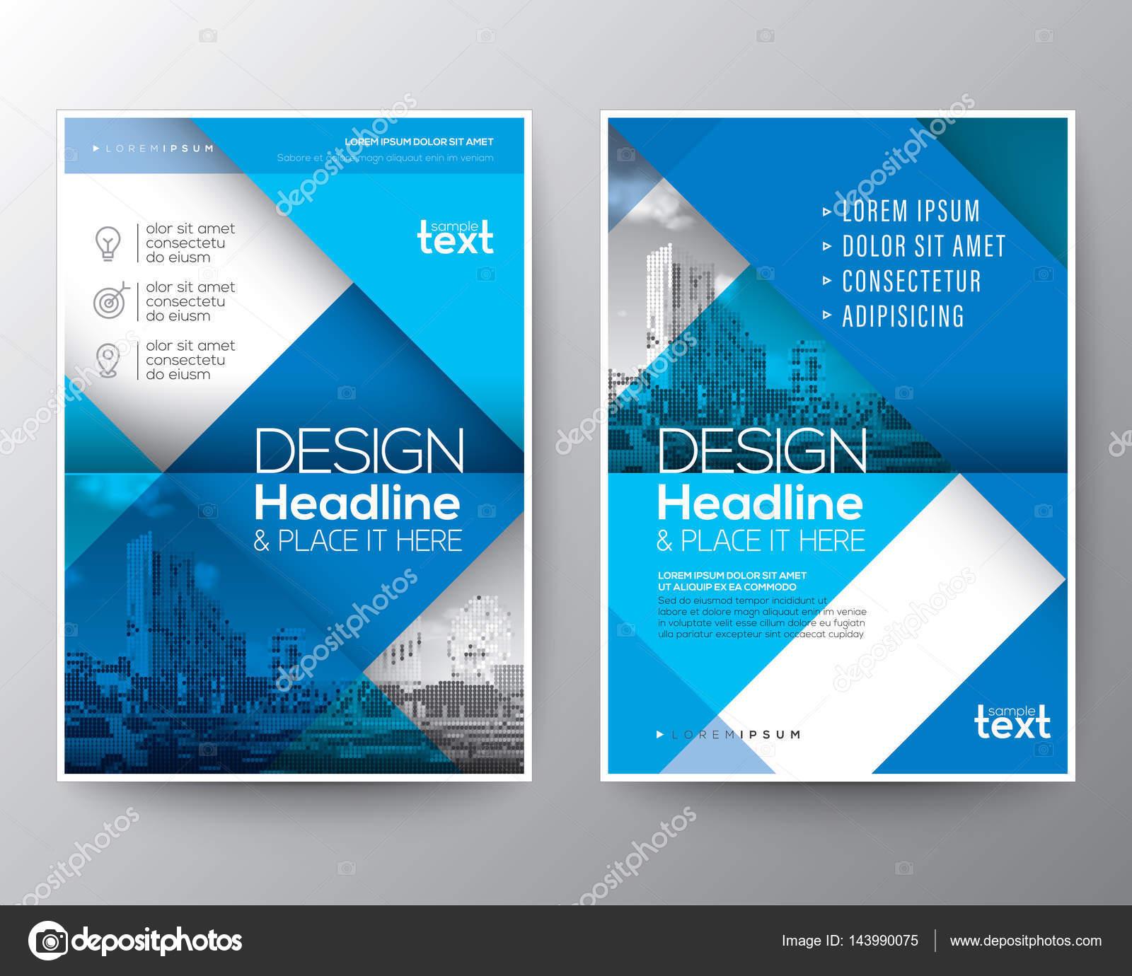 Blaue Broschüre Deckblatt Jahresbericht Flyer Plakatgestaltung