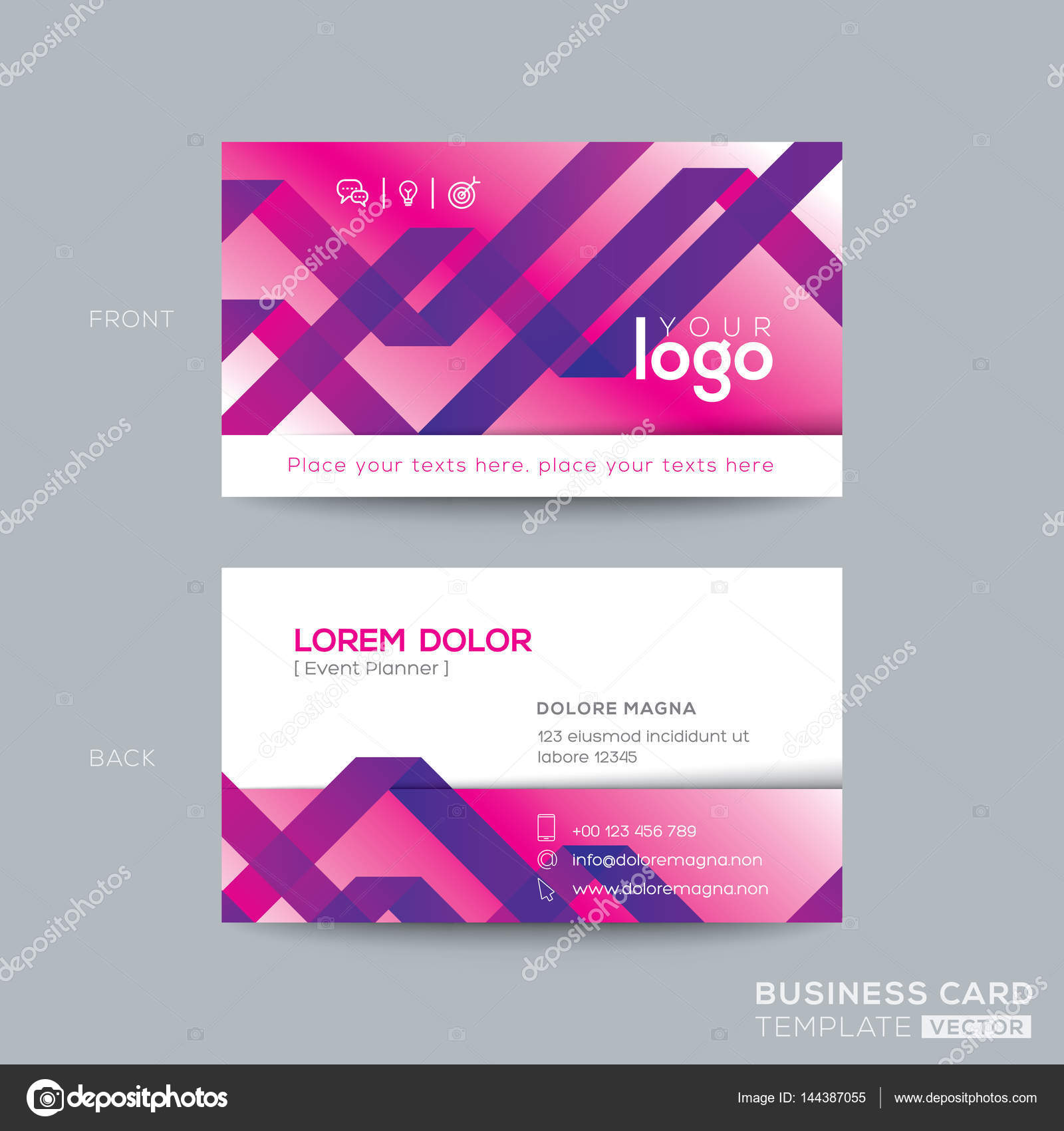Abstract Purple Ribbon Background Business Card Design Stock Vector