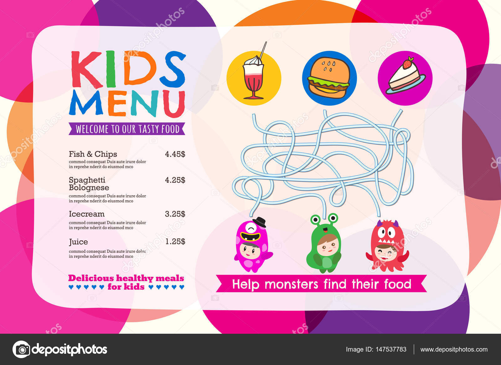 Cute colorful kids meal menu placemat with circle background — Stock ...