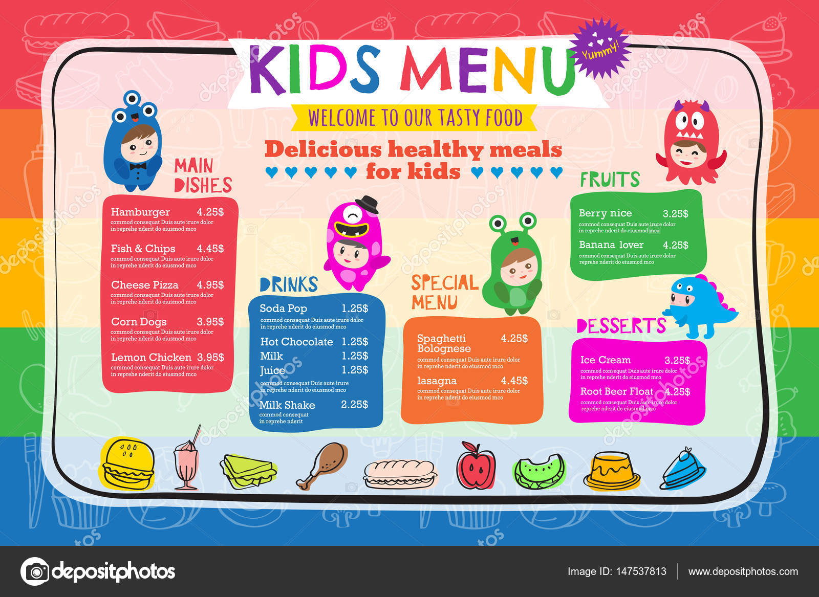 Cute colorful kids meal menu template — Stock Vector © kraphix ...