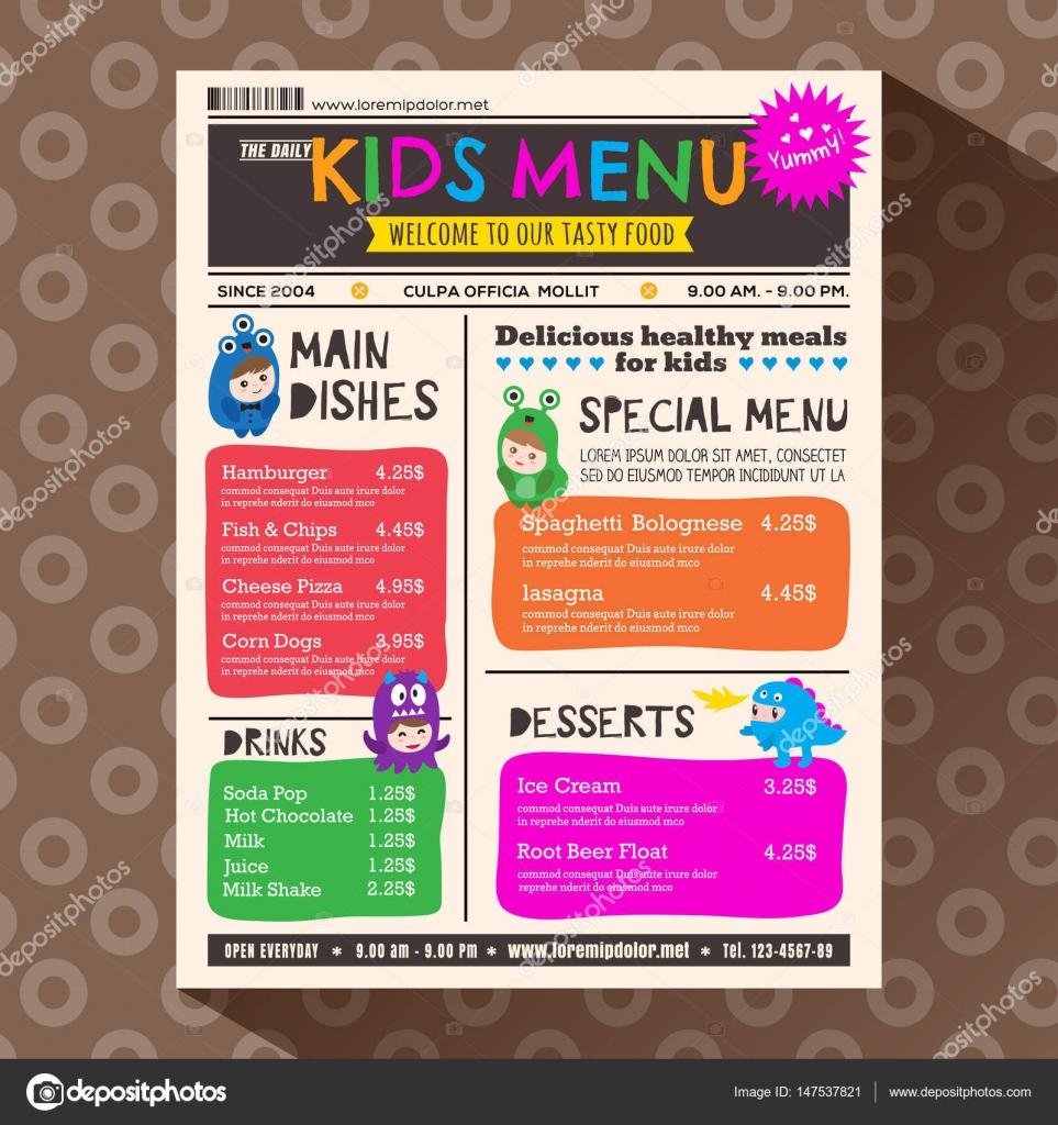 Plantilla de menú de niños lindos de vibrante colorido estilo ...