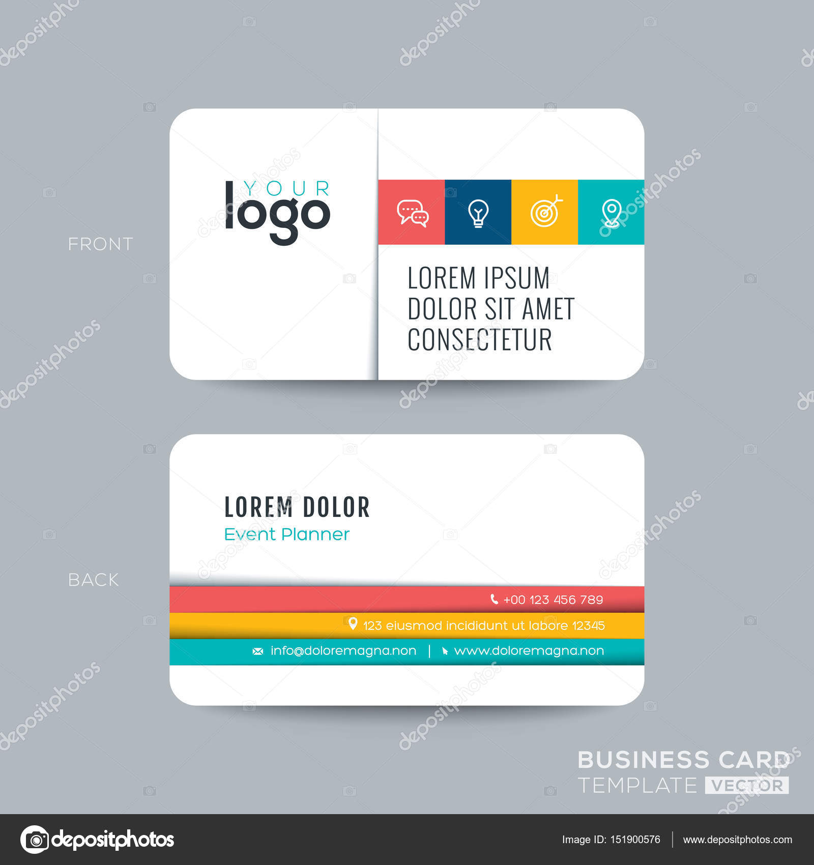 Simple clean business card design stock vector kraphix 151900576 clean and simple business card namecard design with color stripes on white background vector by kraphix colourmoves