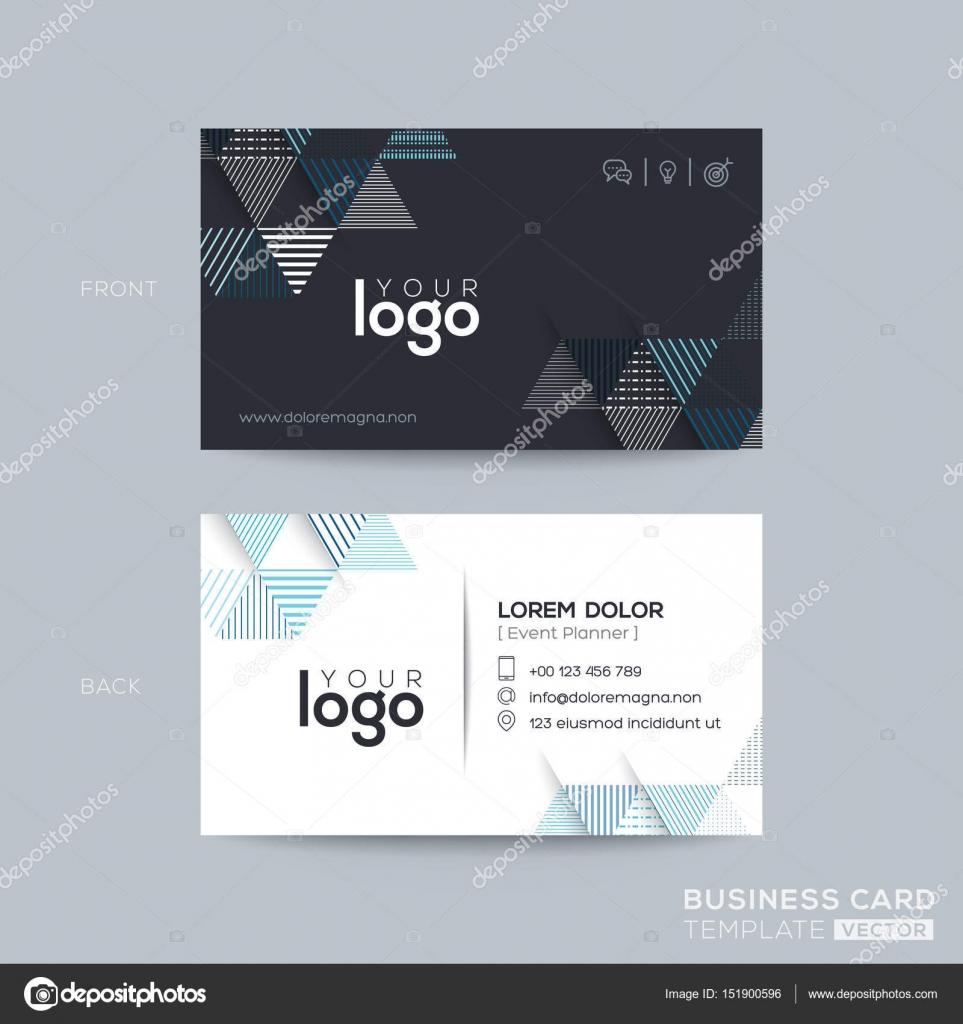 6a903b9b8ba40 Azul y negro triángulo moderno tarjeta de visita diseño - diseños tarjetas  de presentacion online — Vector de ...