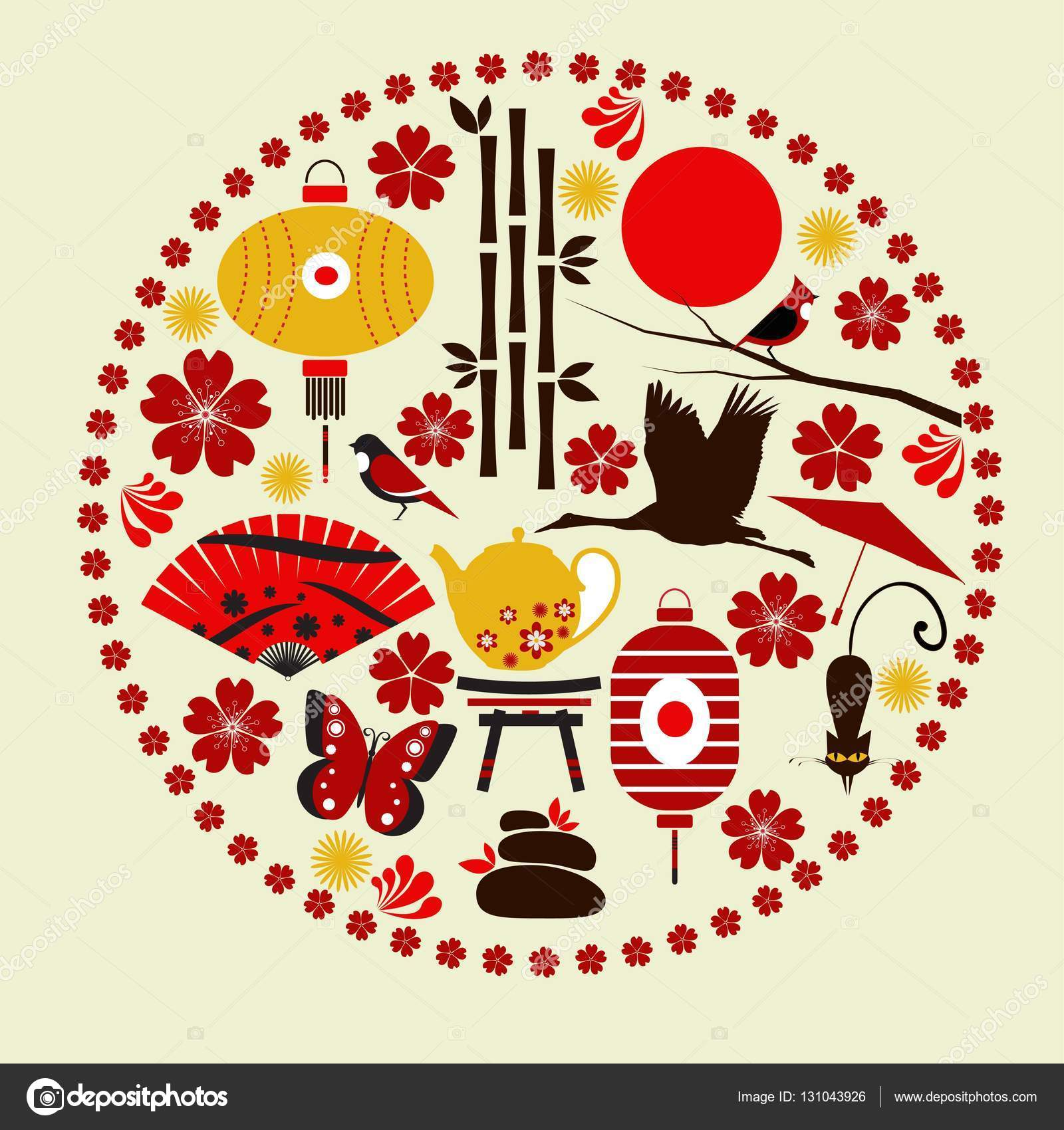 Vector Elements Of Japanese Culture Stock Vector